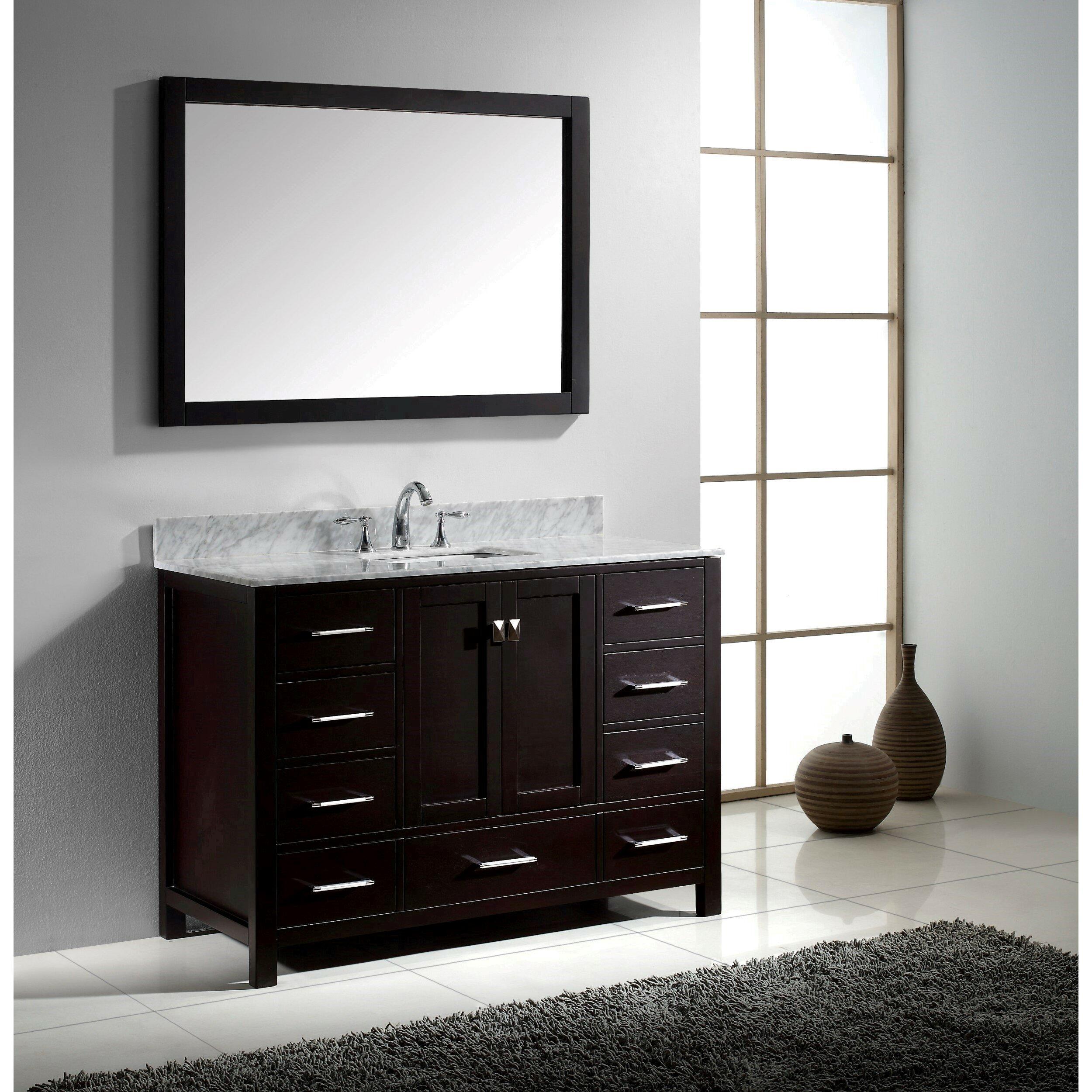 """Virtu Caroline Avenue 48"""" Single Bathroom Vanity Set with ..."""