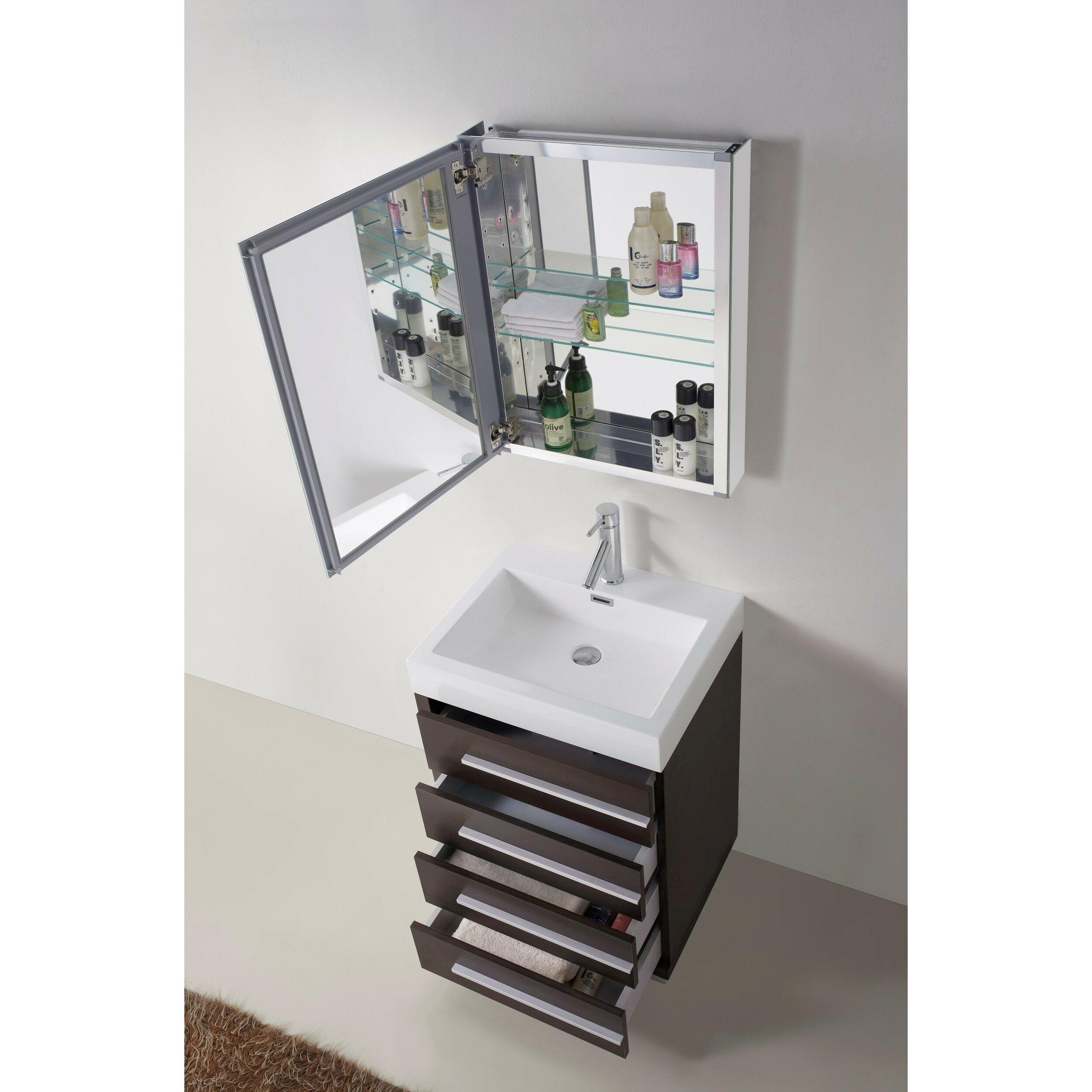 "Virtu Bailey 22 6"" Single Bathroom Vanity Set with White Top and Mirror"