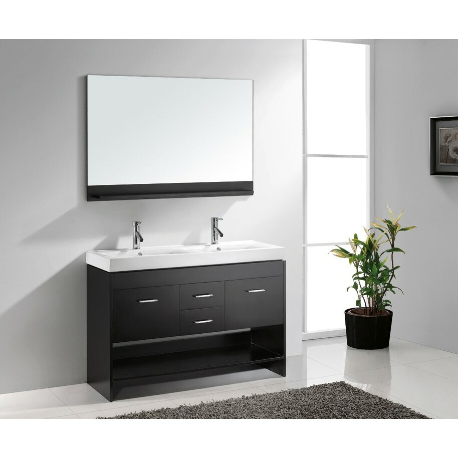 Virtu gloria 48 double bathroom vanity set with mirror for Mirrored bathroom set