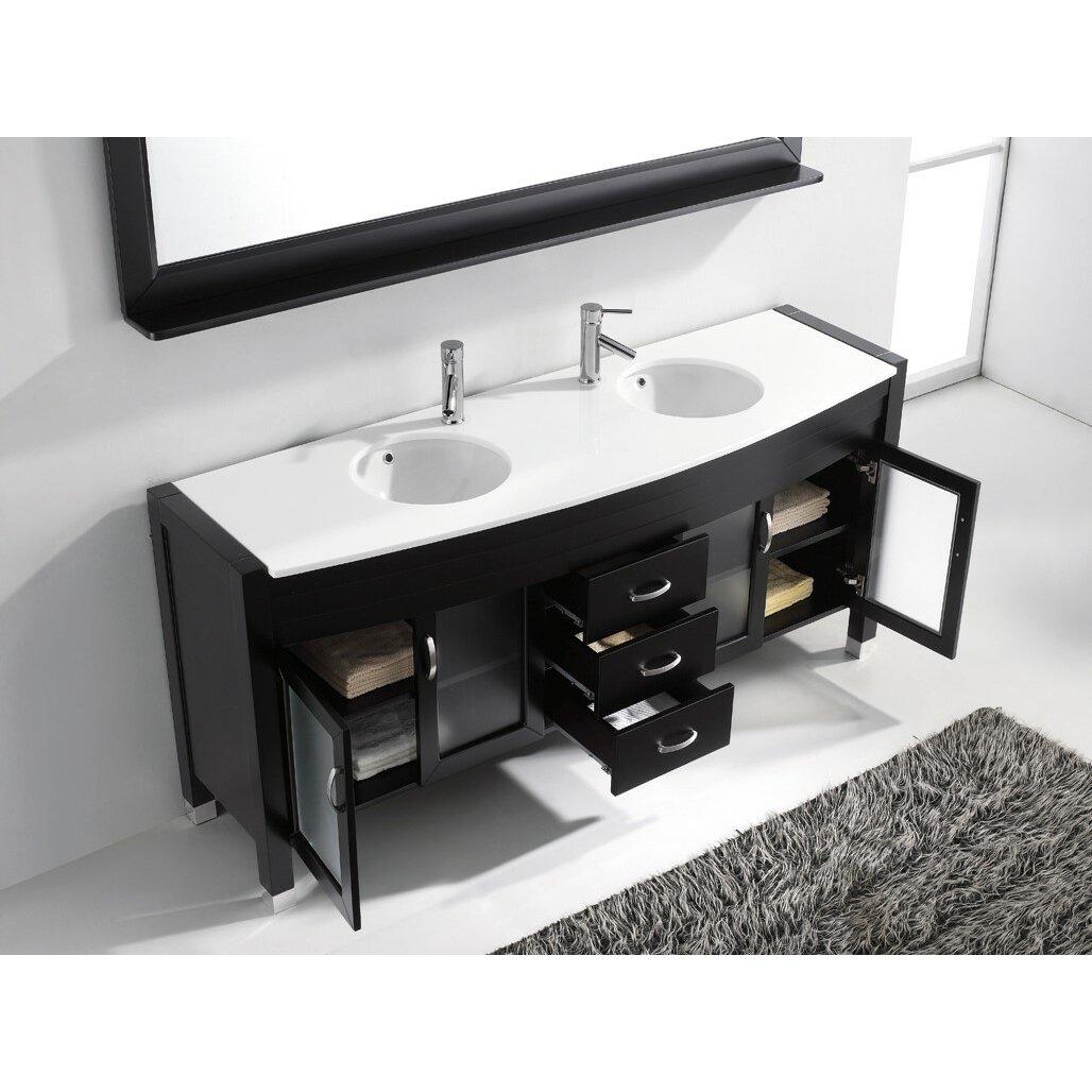 Virtu ultra modern series 71 double bathroom vanity set with mirror reviews wayfair for Ultra bathroom vanities burbank