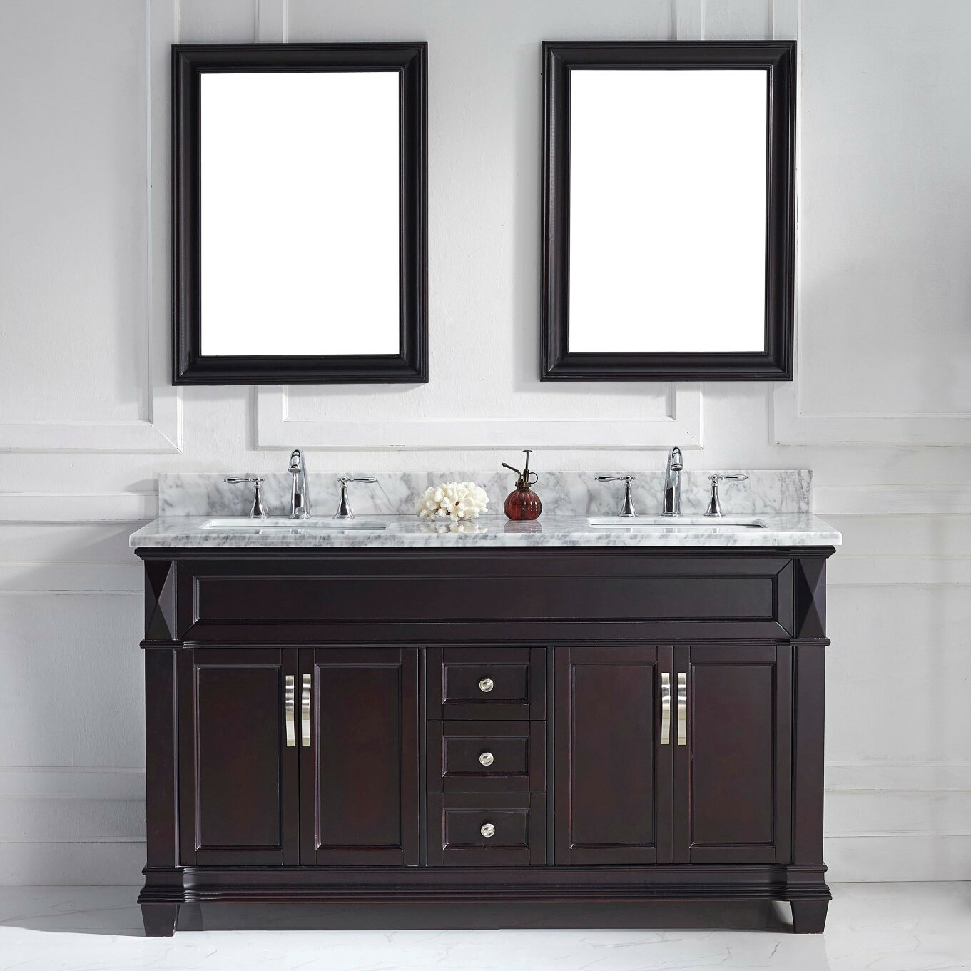 "Virtu Victoria 60 8"" Double Bathroom Vanity Set with"