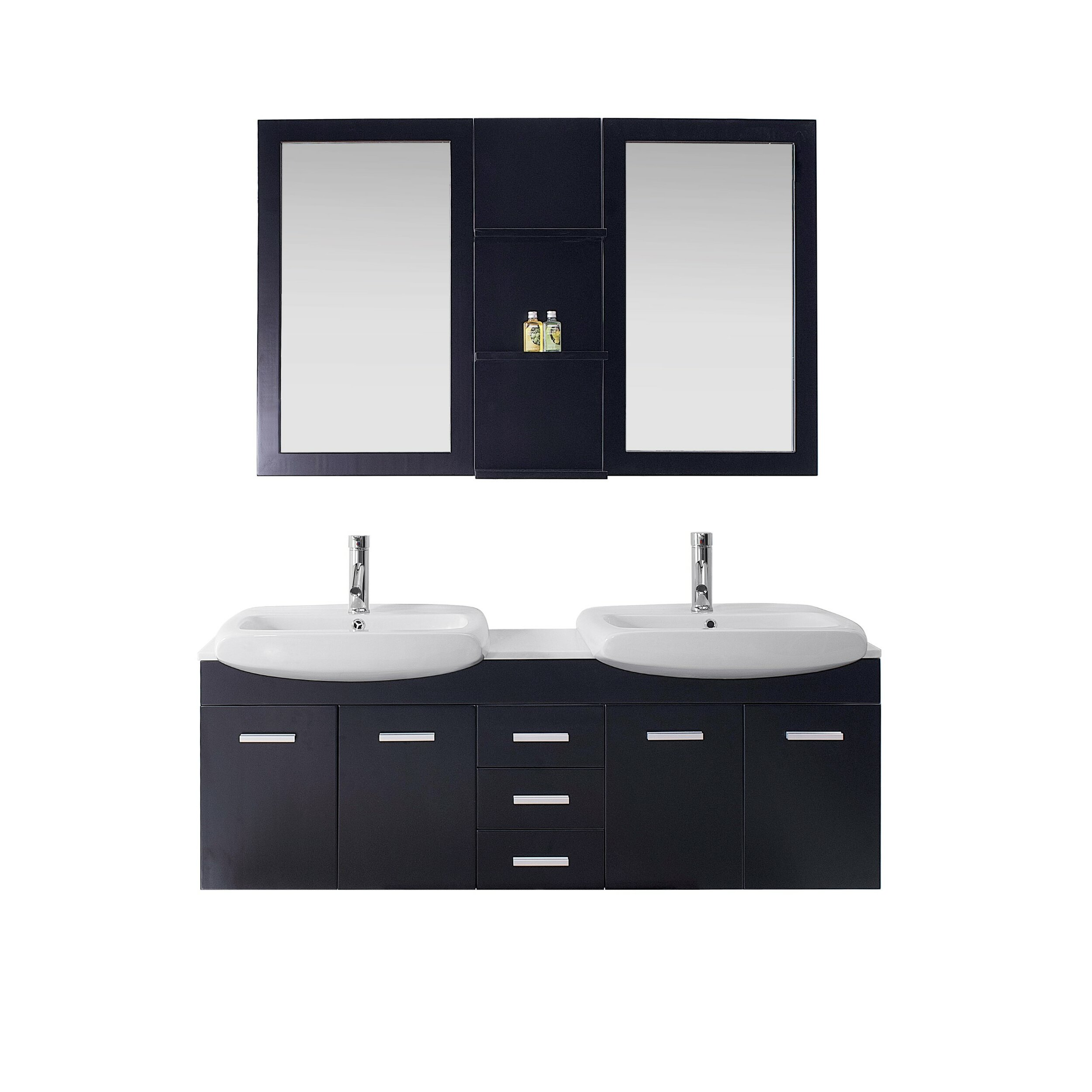 Virtu ultra modern series 59 double bathroom vanity set for Modern white bathroom vanity