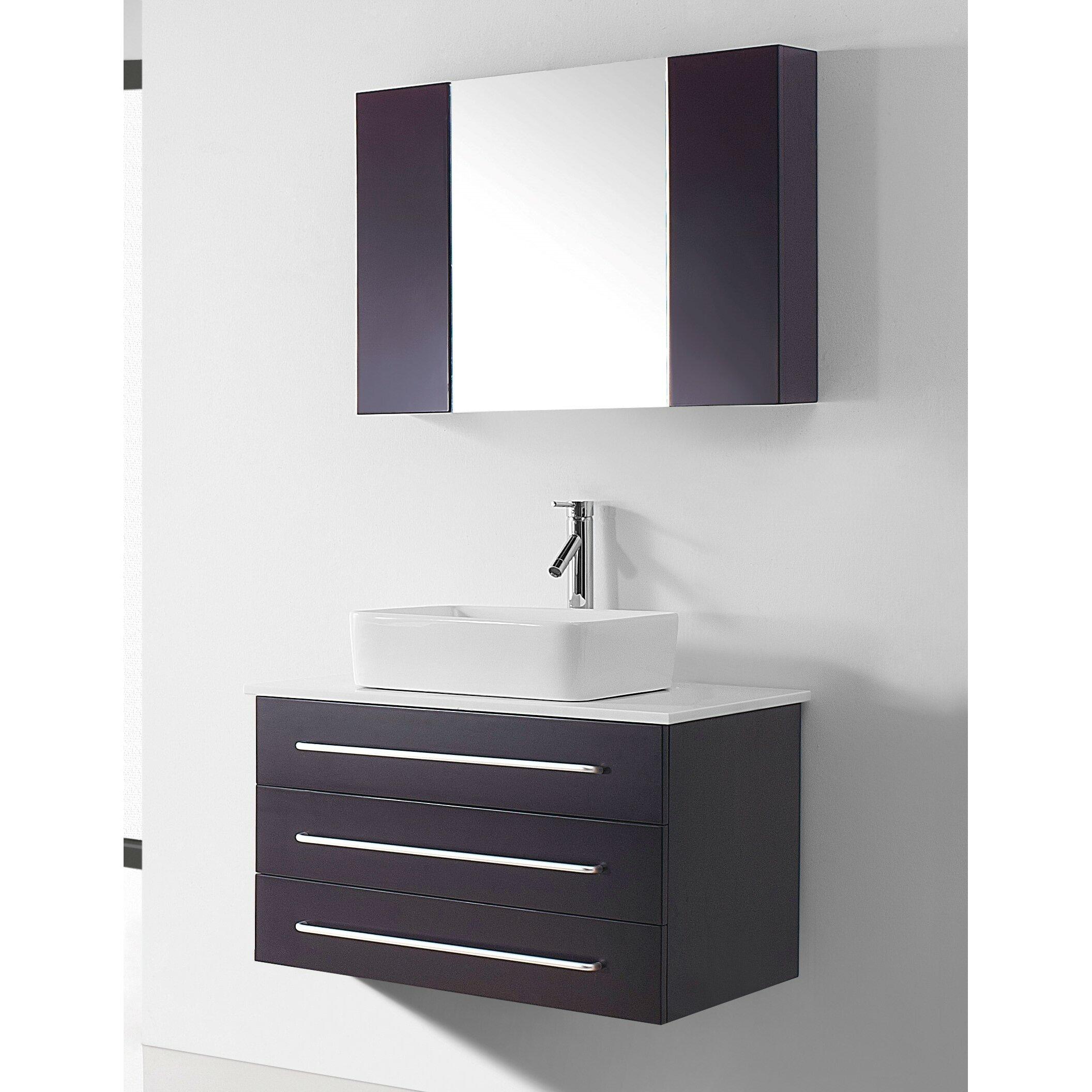 Virtu ultra modern series 32 6 single bathroom vanity set with white top and mirror reviews for Ultra bathroom vanities burbank