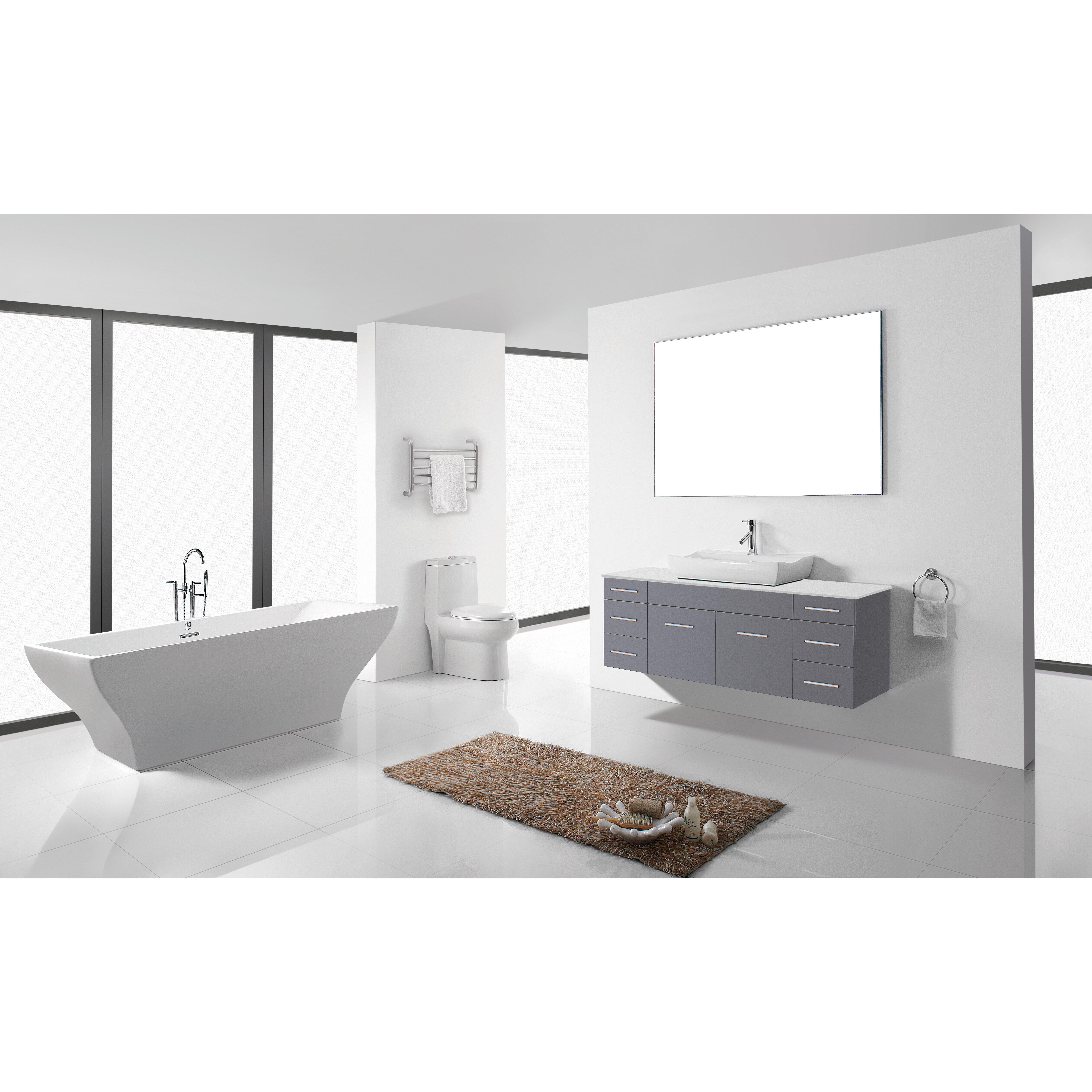 Virtu ultra modern series 56 single bathroom vanity set for Bathroom mirror set