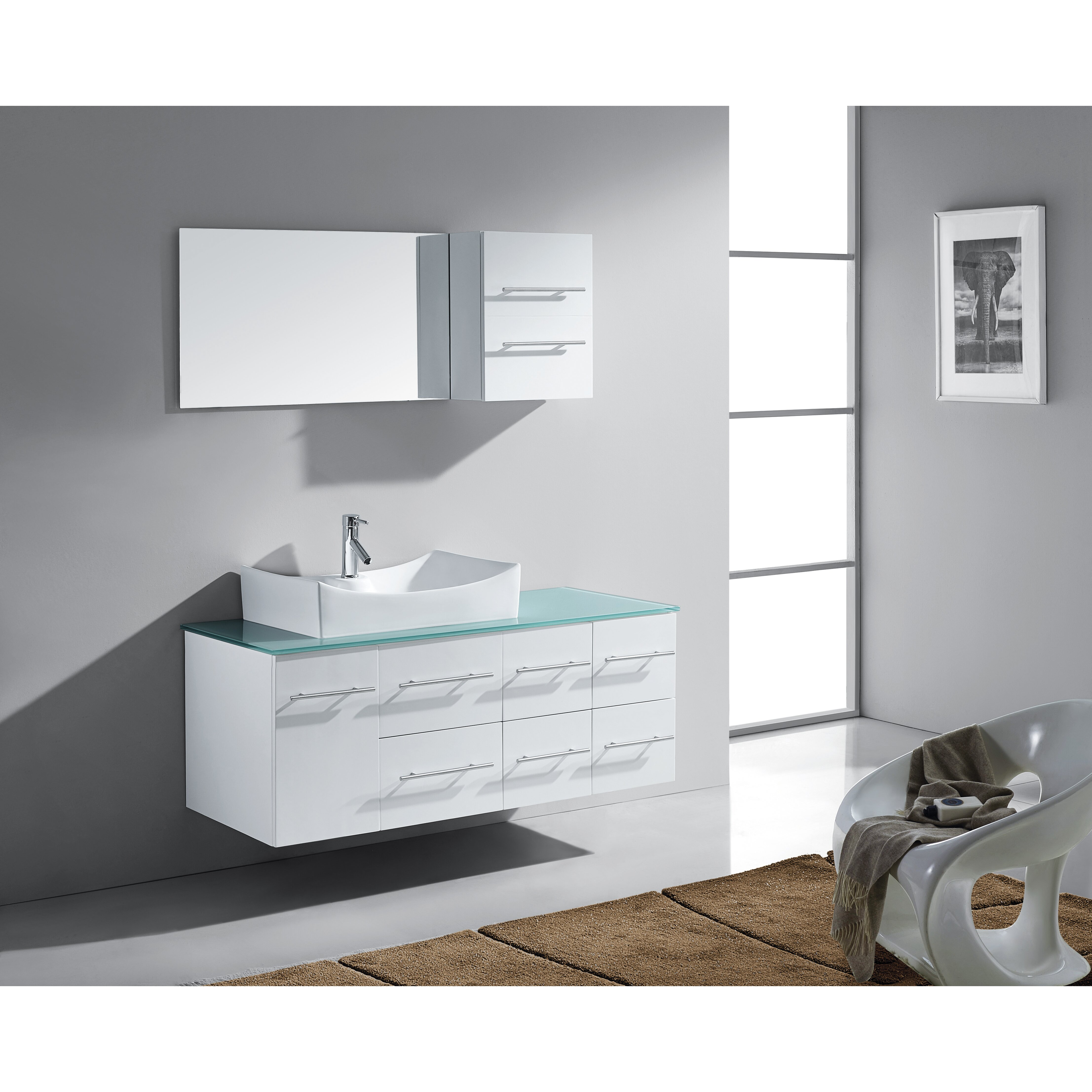 Unique Virtu Ultra Modern Series 71quot Double Bathroom Vanity Set With Mirror