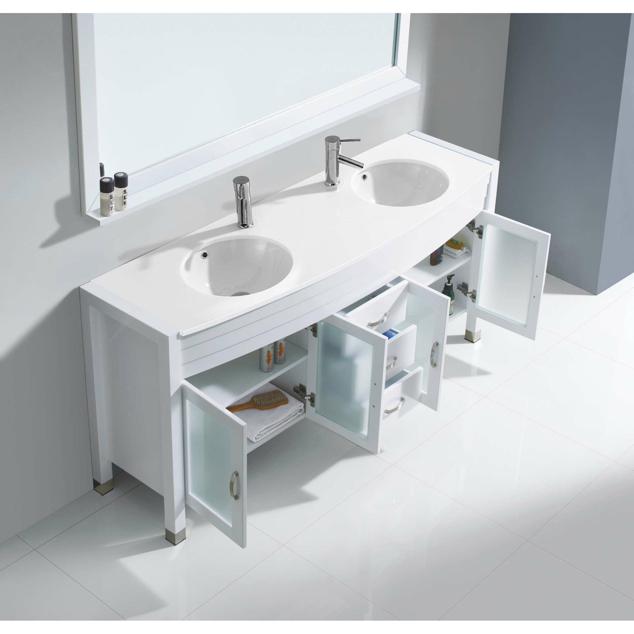 Virtu ava 71 double bathroom vanity set with white for Bathroom mirror set