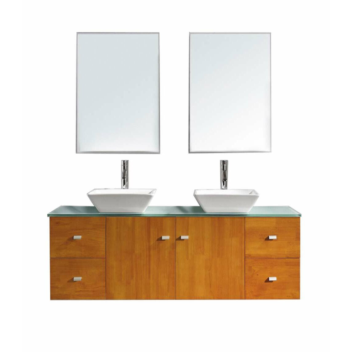 virtu clarissa 61 quot bathroom vanity set with glass