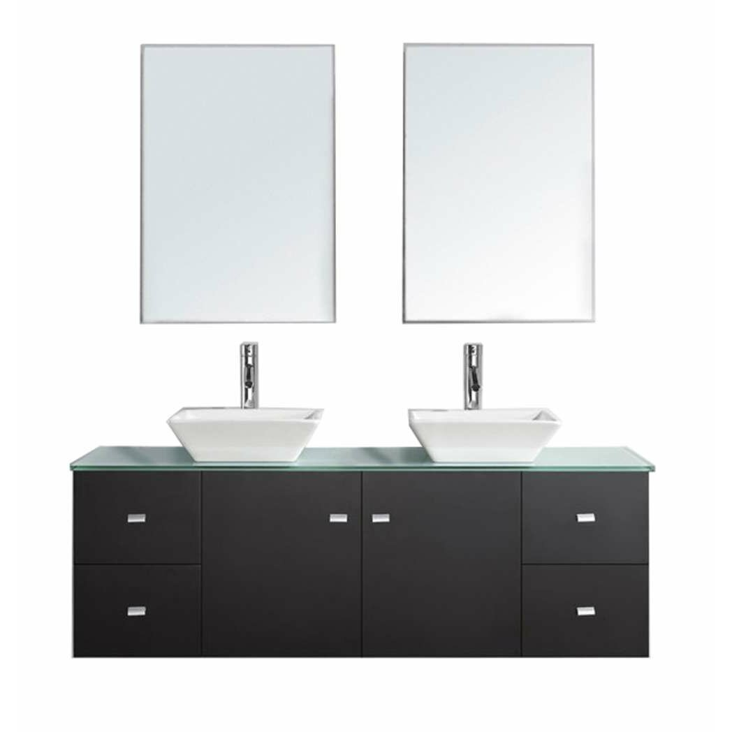 Virtu clarissa 61 double bathroom vanity set with tempered glass top and mirror reviews wayfair - Kona modern bathroom vanity set ...
