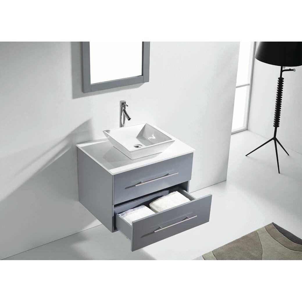Virtu marsala 30 single bathroom vanity set with white for Vanity and mirror set