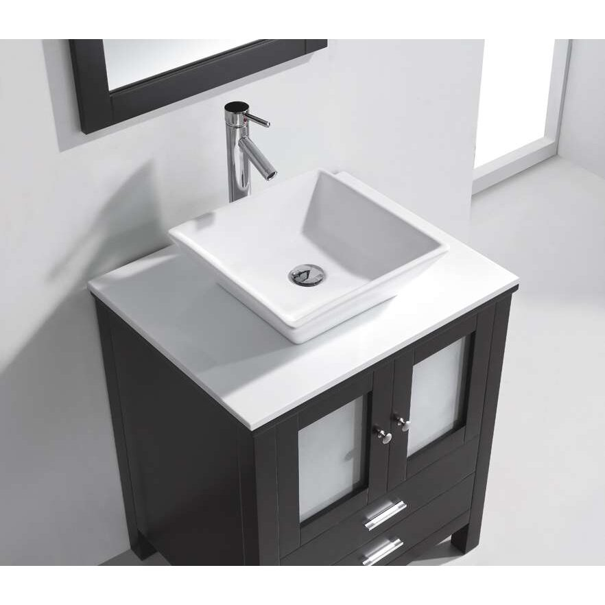 Virtu brentford 28 single bathroom vanity set with white for Vanity and mirror set