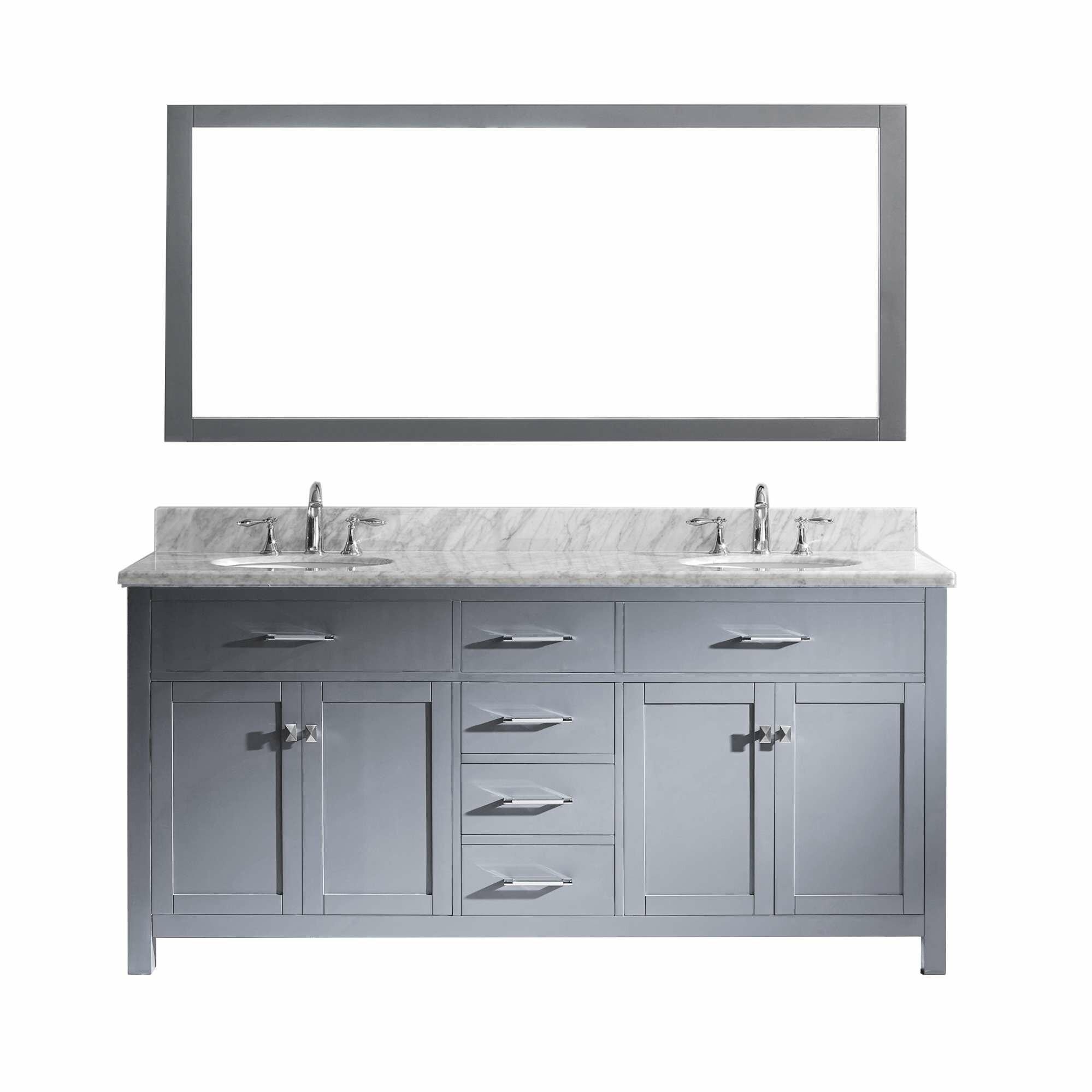 Virtu caroline 72 double bathroom vanity set with carrara for Vanity and mirror set