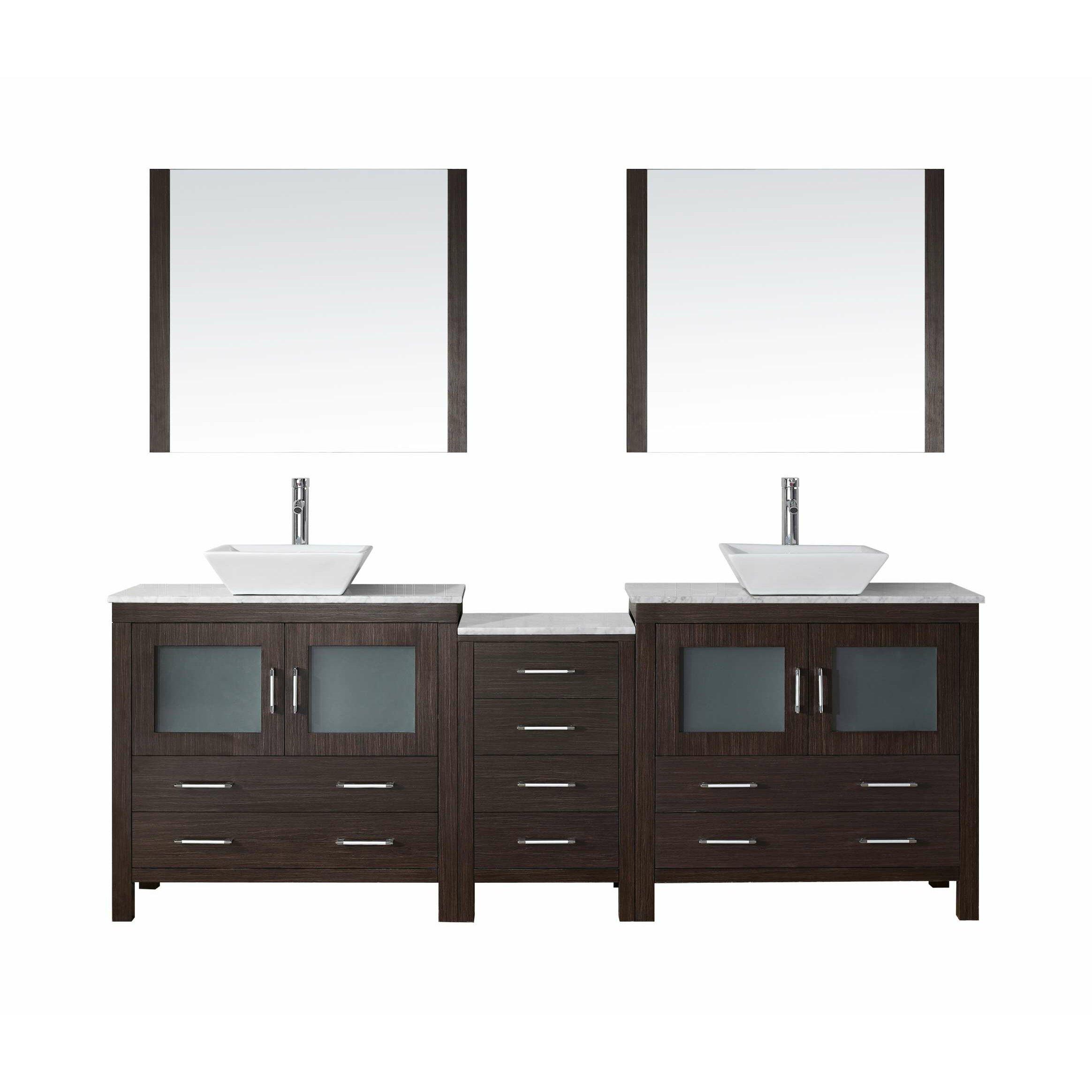 Virtu Dior 91 Double Bathroom Vanity Set With Mirror