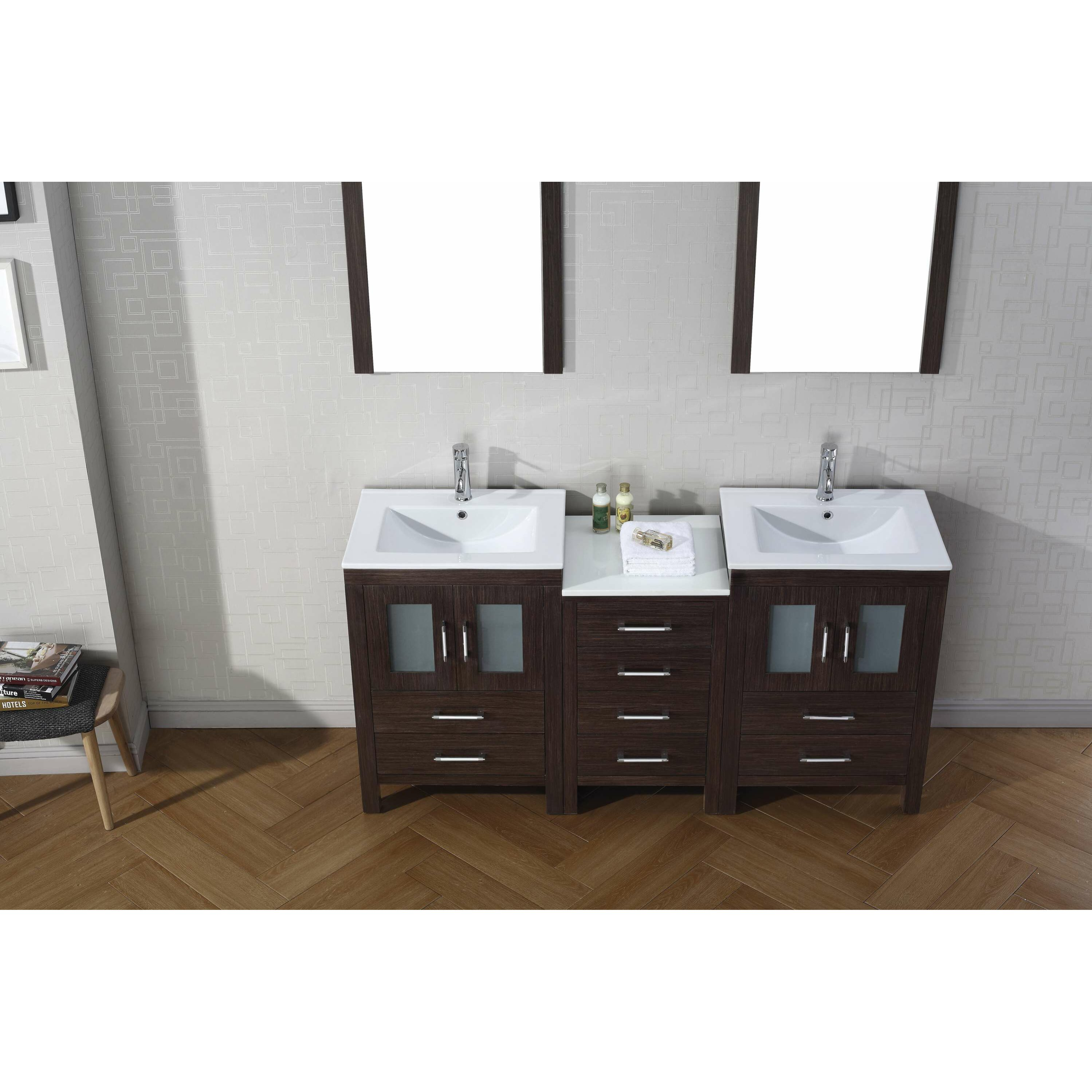 Virtu Dior 66 Double Bathroom Vanity Set With Mirror Reviews Wa