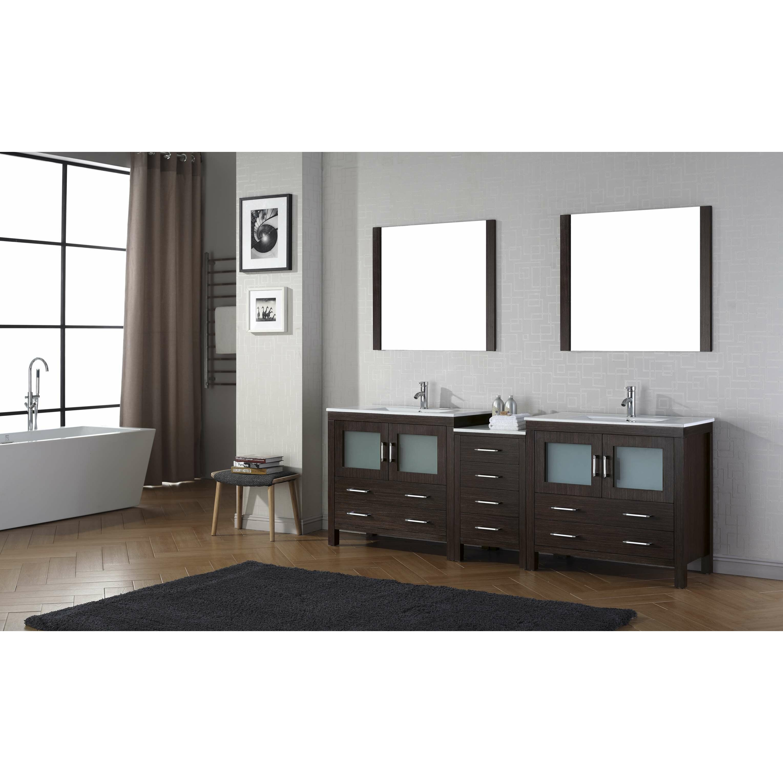 "90 Inch Double Sink Bathroom Vanity: Virtu Dior 90"" Double Bathroom Vanity Set With Mirror"