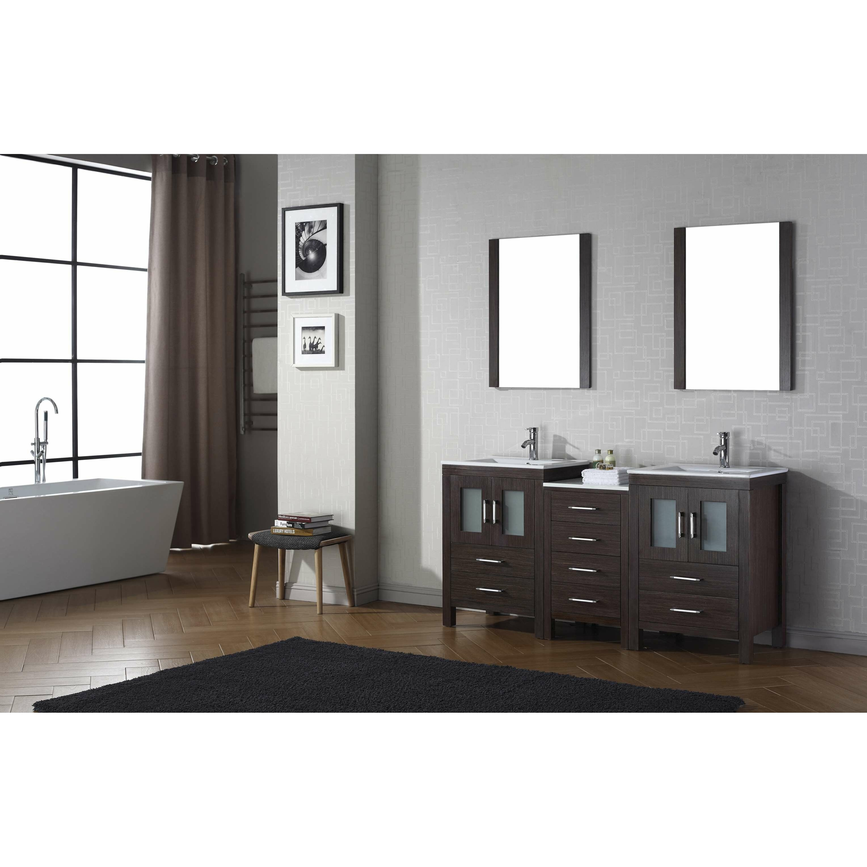 "Virtu Dior 66"" Double Bathroom Vanity Set with Mirror & Reviews"