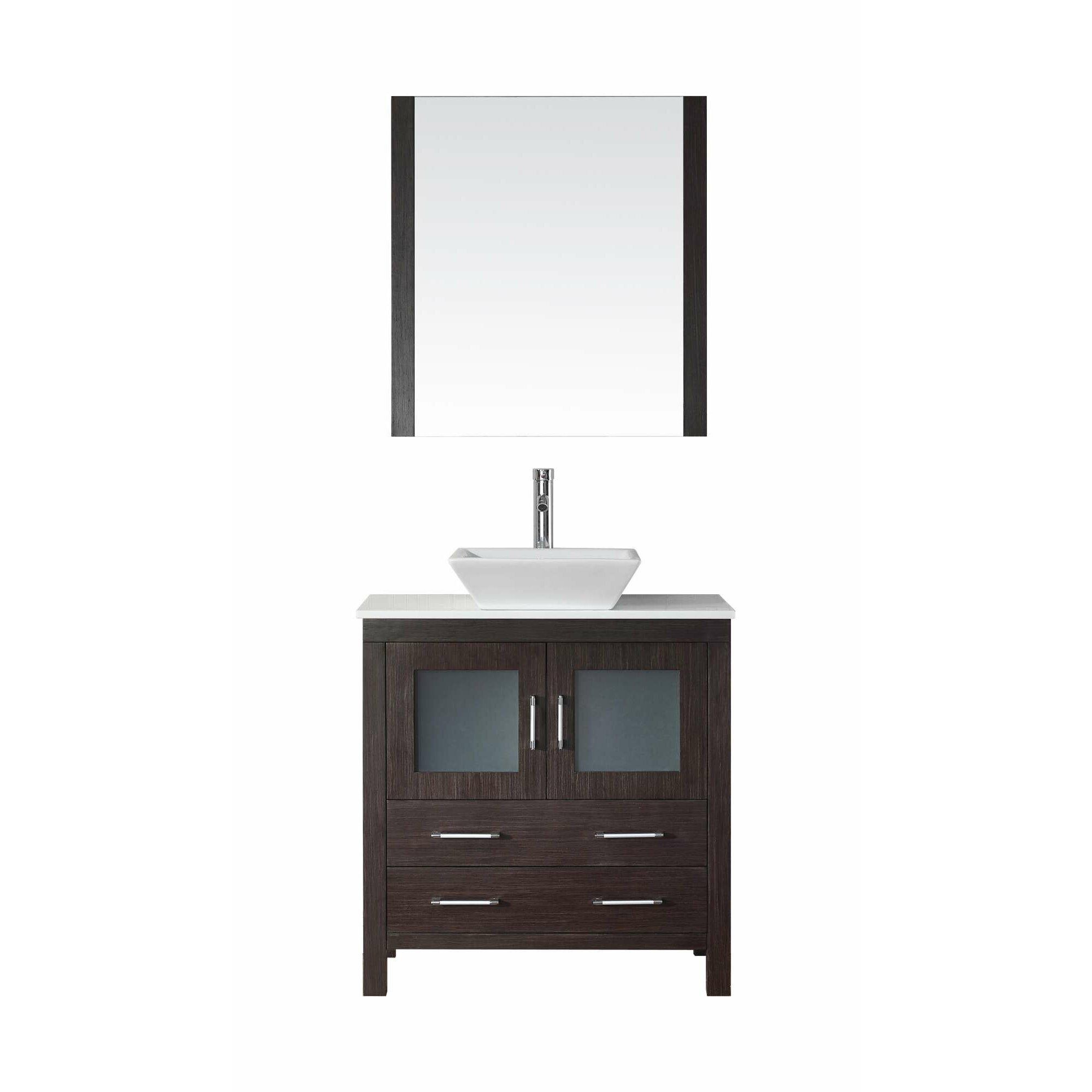 Virtu dior 32 single bathroom vanity set with mirror for Bathroom vanity sets