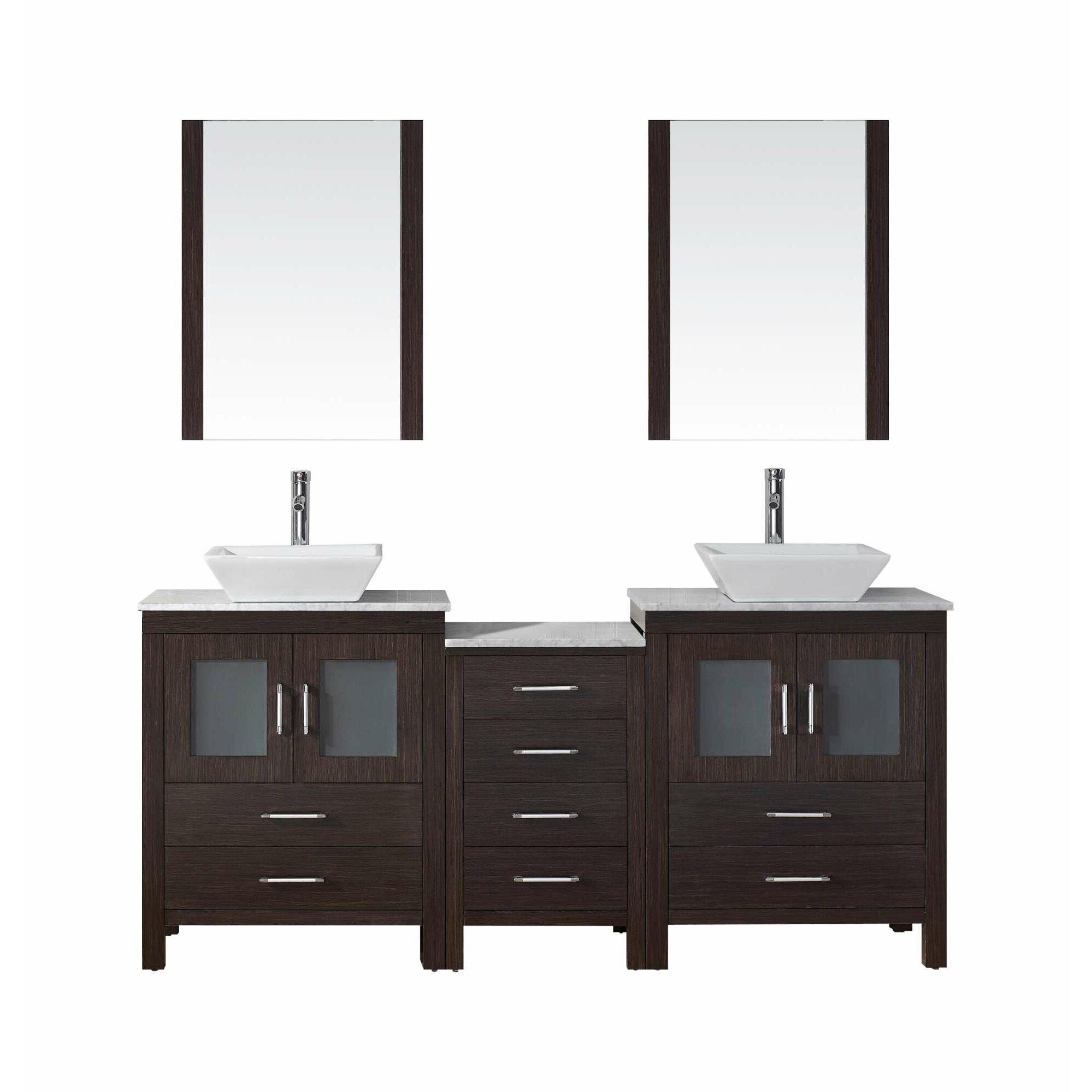 Virtu dior 75 double bathroom vanity set with mirror for Mirror vanity