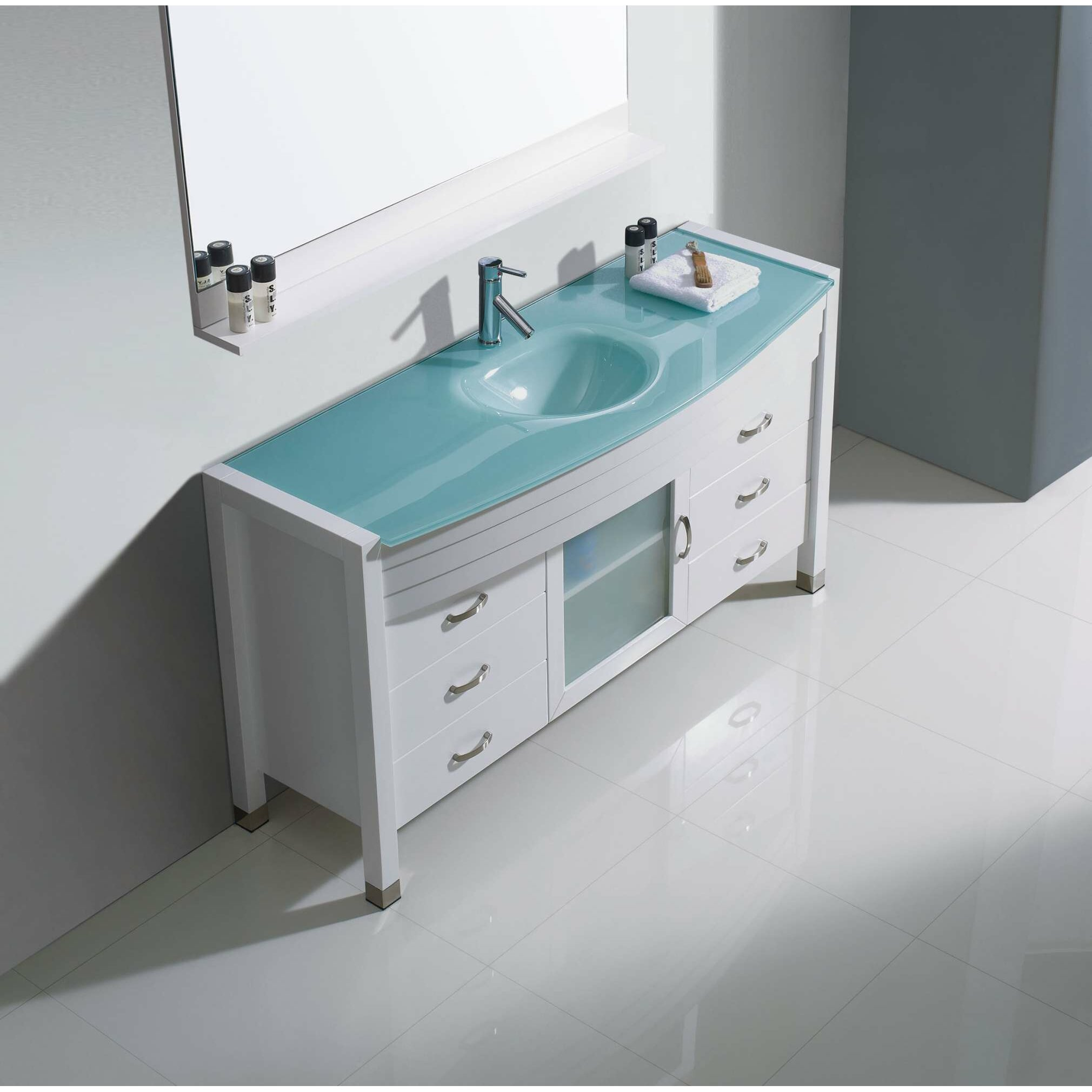 "Virtu Ava 55"" Single Bathroom Vanity Set with Mirror & Reviews"