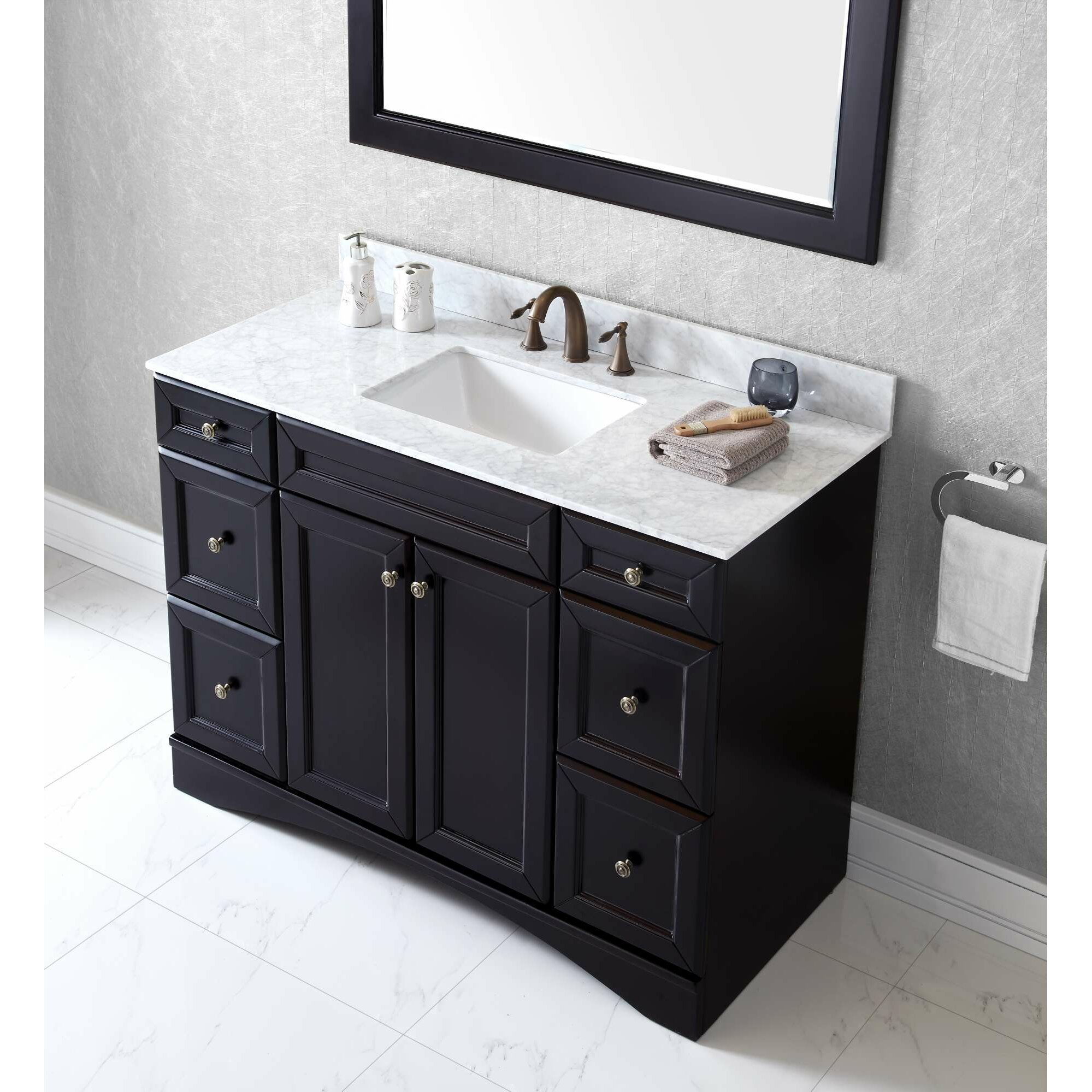 virtu talisa 48 single bathroom vanity set with mirror wayfair. Black Bedroom Furniture Sets. Home Design Ideas