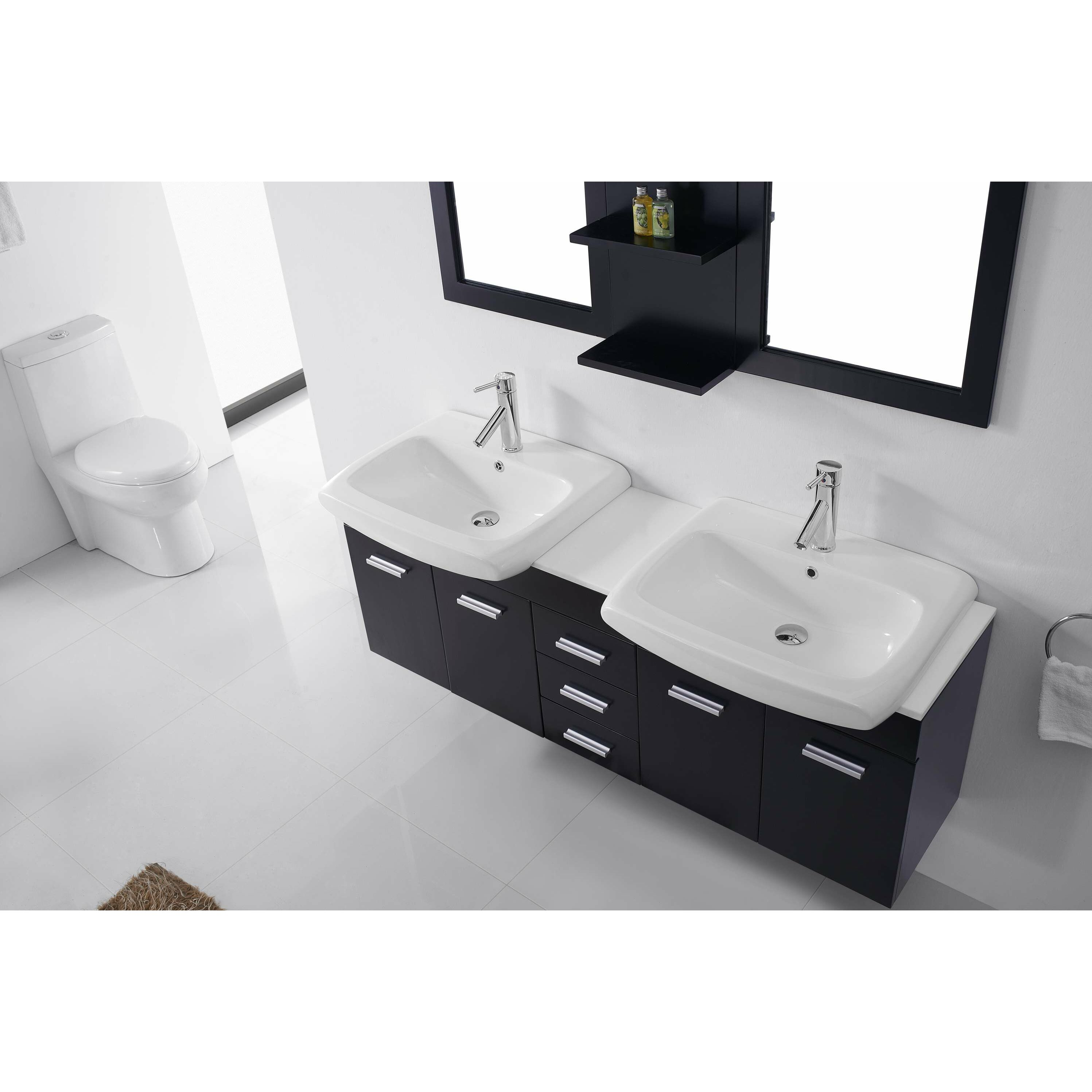 Virtu ultra modern series 59 double bathroom vanity set with mirror reviews for Ultra bathroom vanities burbank