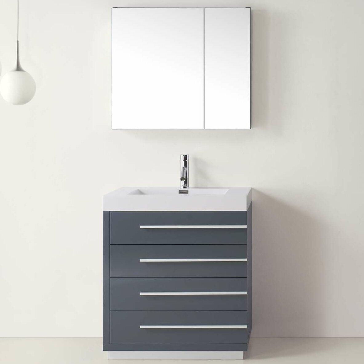 Virtu bailey 30 single bathroom vanity set with mirror for Bathroom mirror set