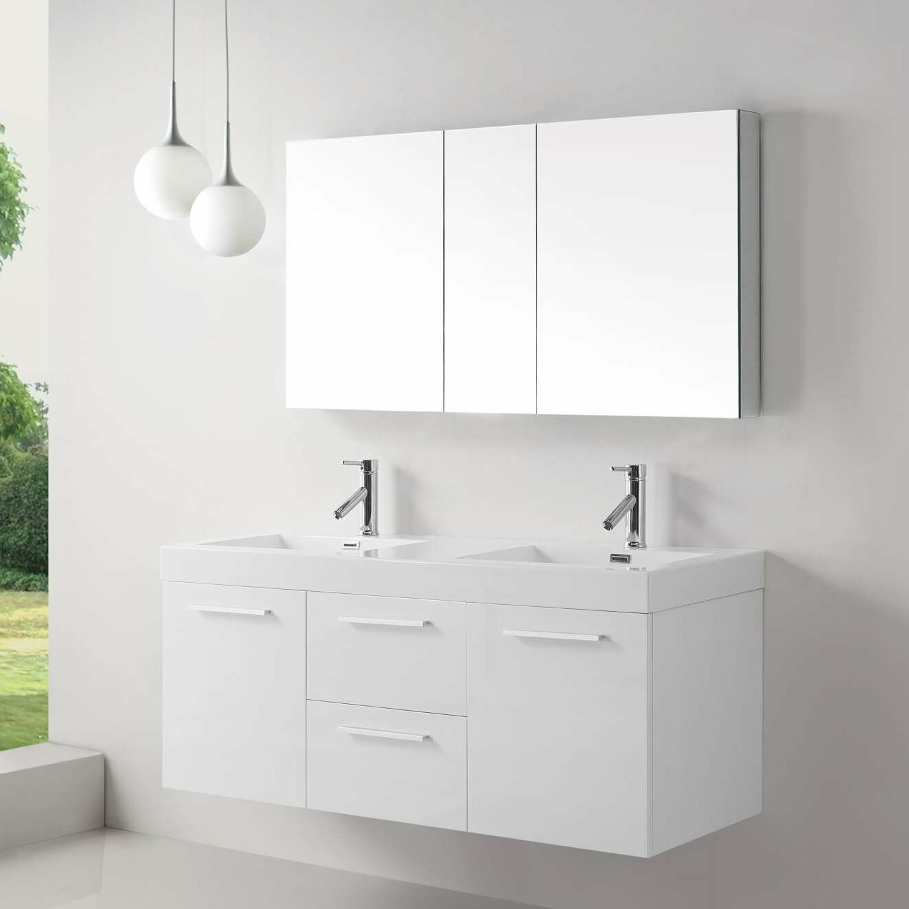 Virtu Midori 54 Double Floating Bathroom Vanity Set Reviews Wayfair