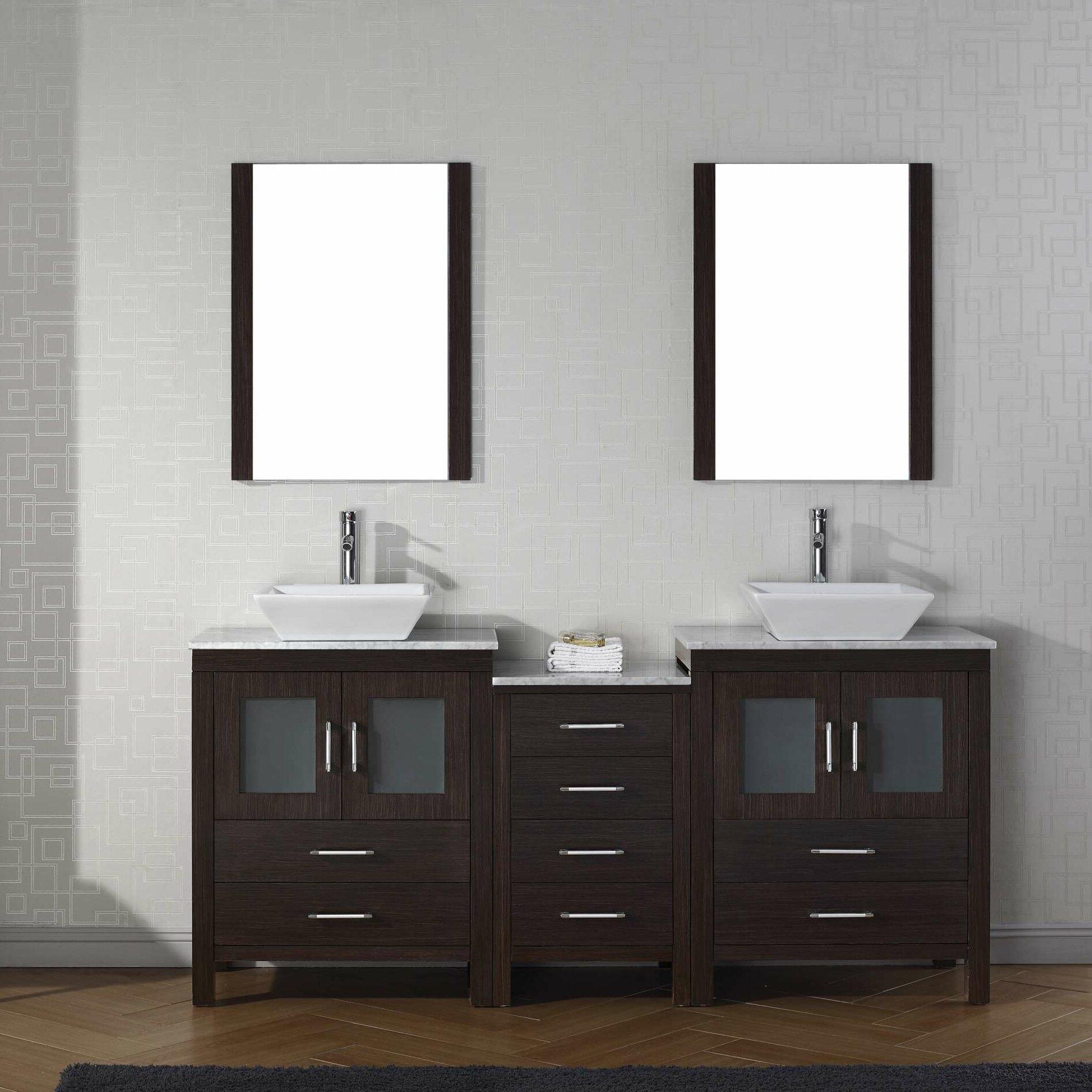 Virtu Dior 67 Double Bathroom Vanity Set With Mirror Reviews Wayfair