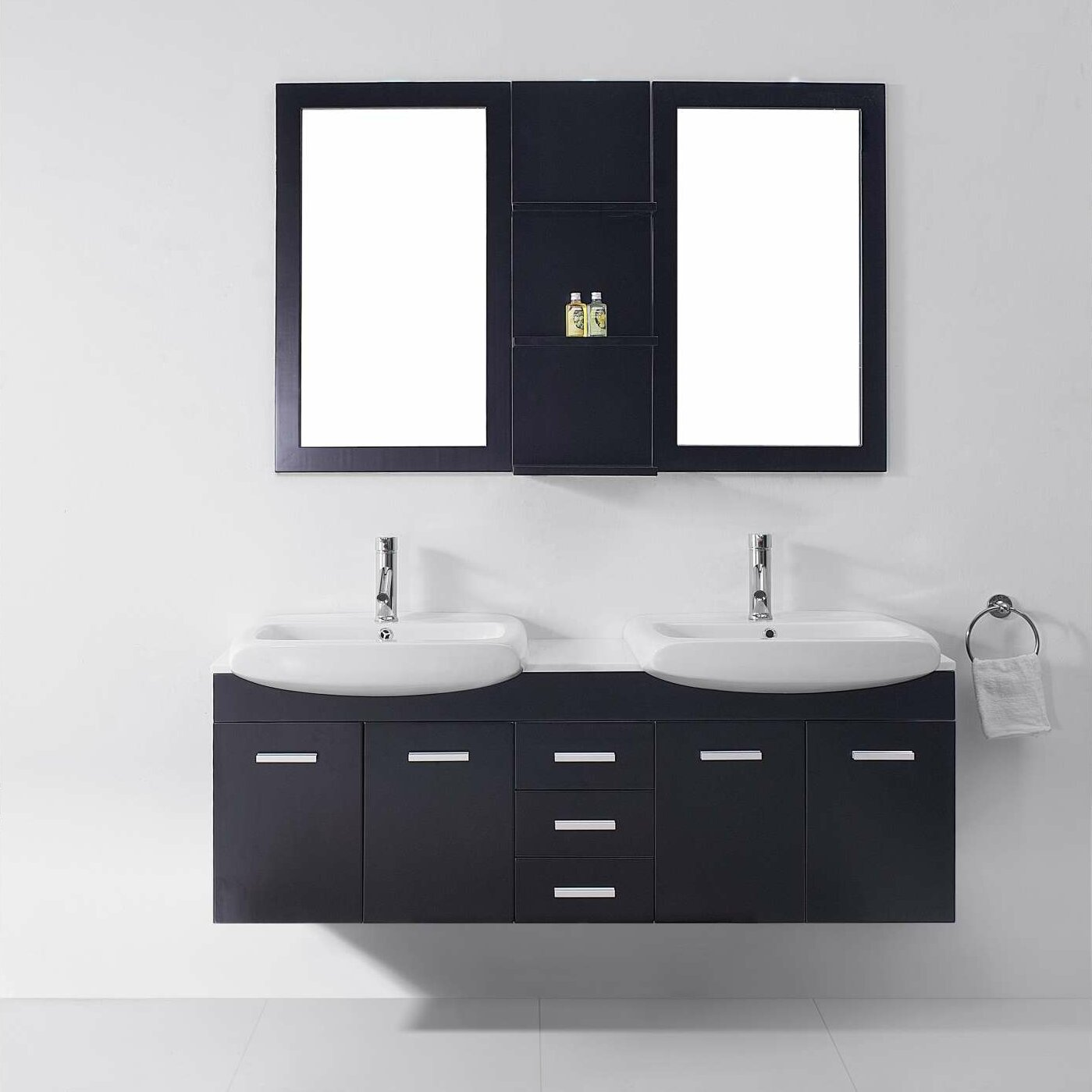 Virtu ultra modern series 59 double bathroom vanity set for Ultra modern bathroom
