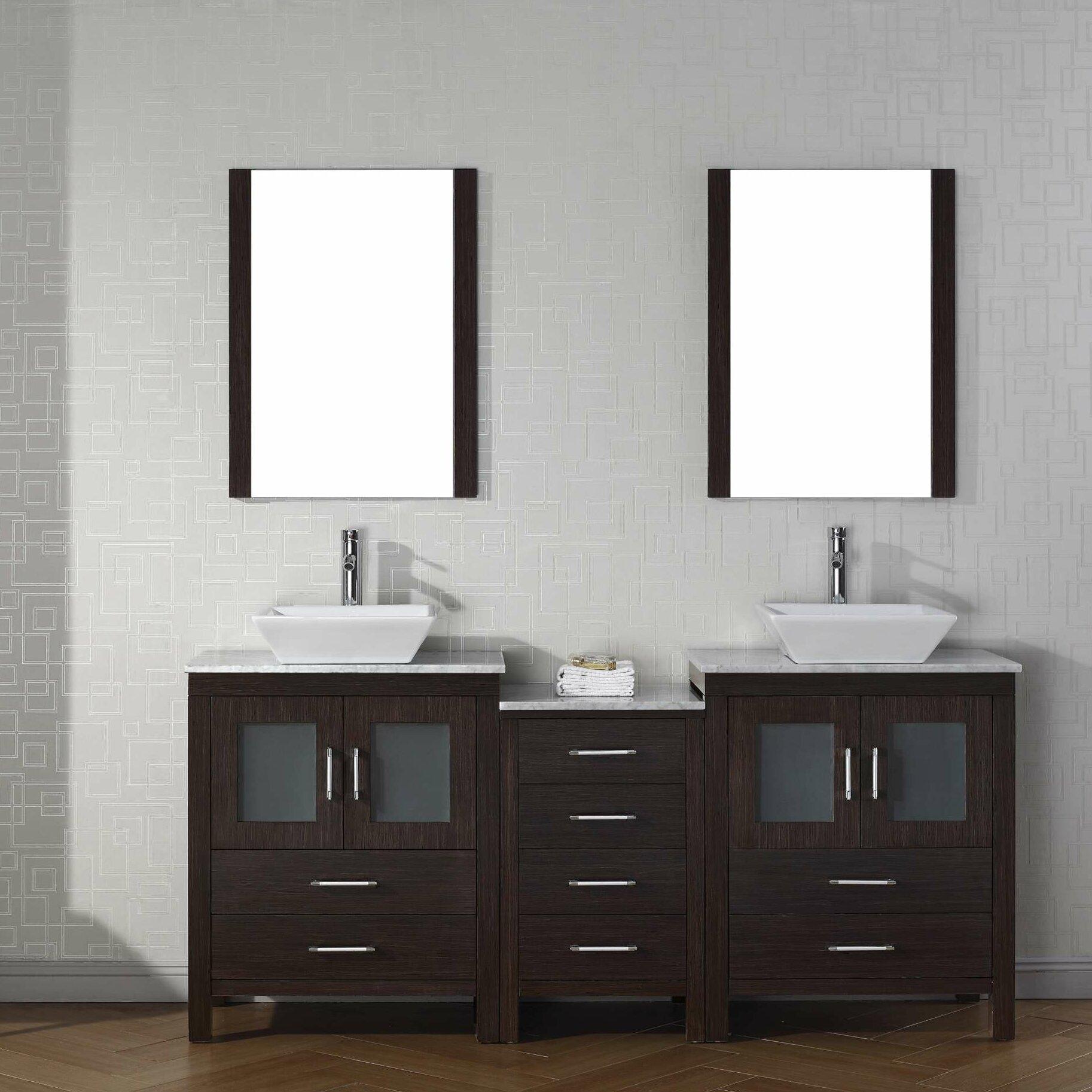 Virtu Dior 75 Double Bathroom Vanity Set With Mirror Wayfair