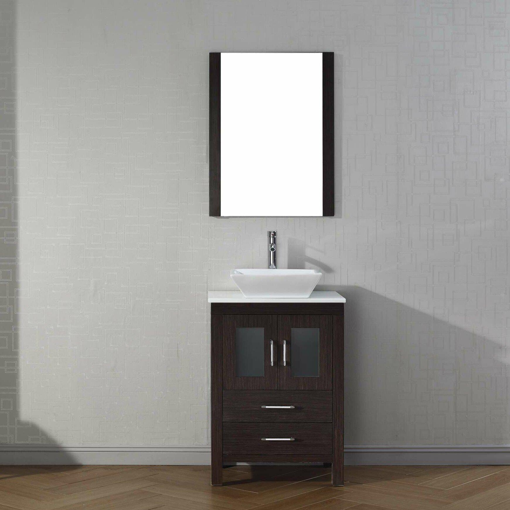 "Virtu Dior 25"" Single Bathroom Vanity Set with Mirror"