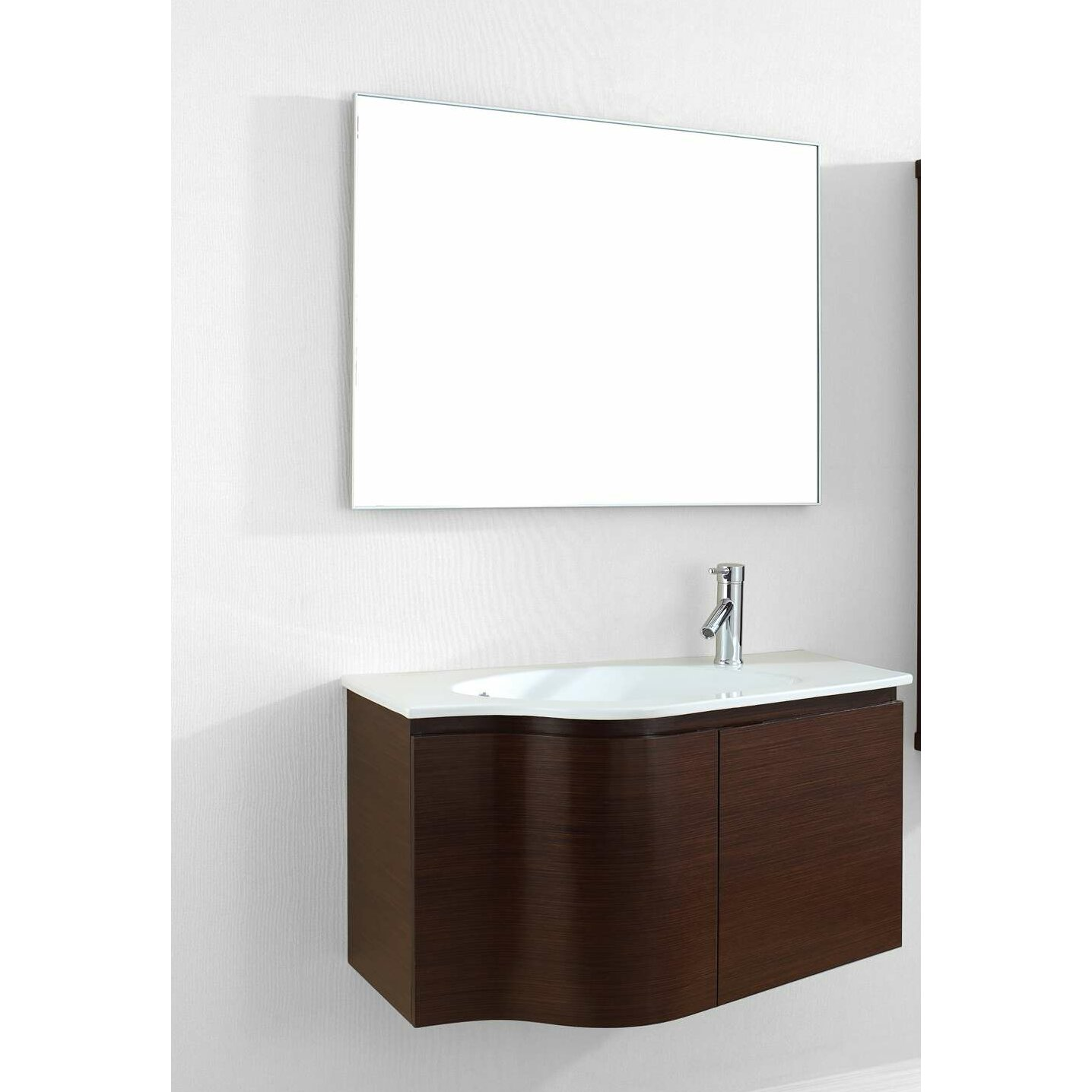 Virtu roselle 35 single floating bathroom vanity set with for Bathroom vanity sets for sale