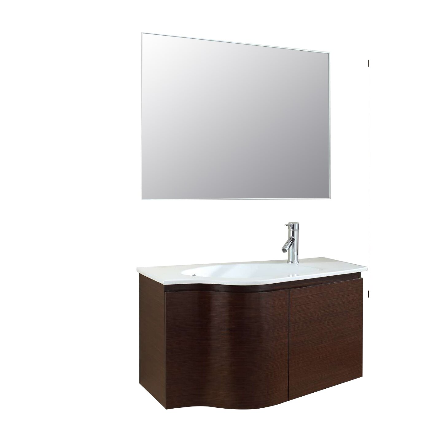 Virtu roselle 35 quot single floating bathroom vanity set with mirror