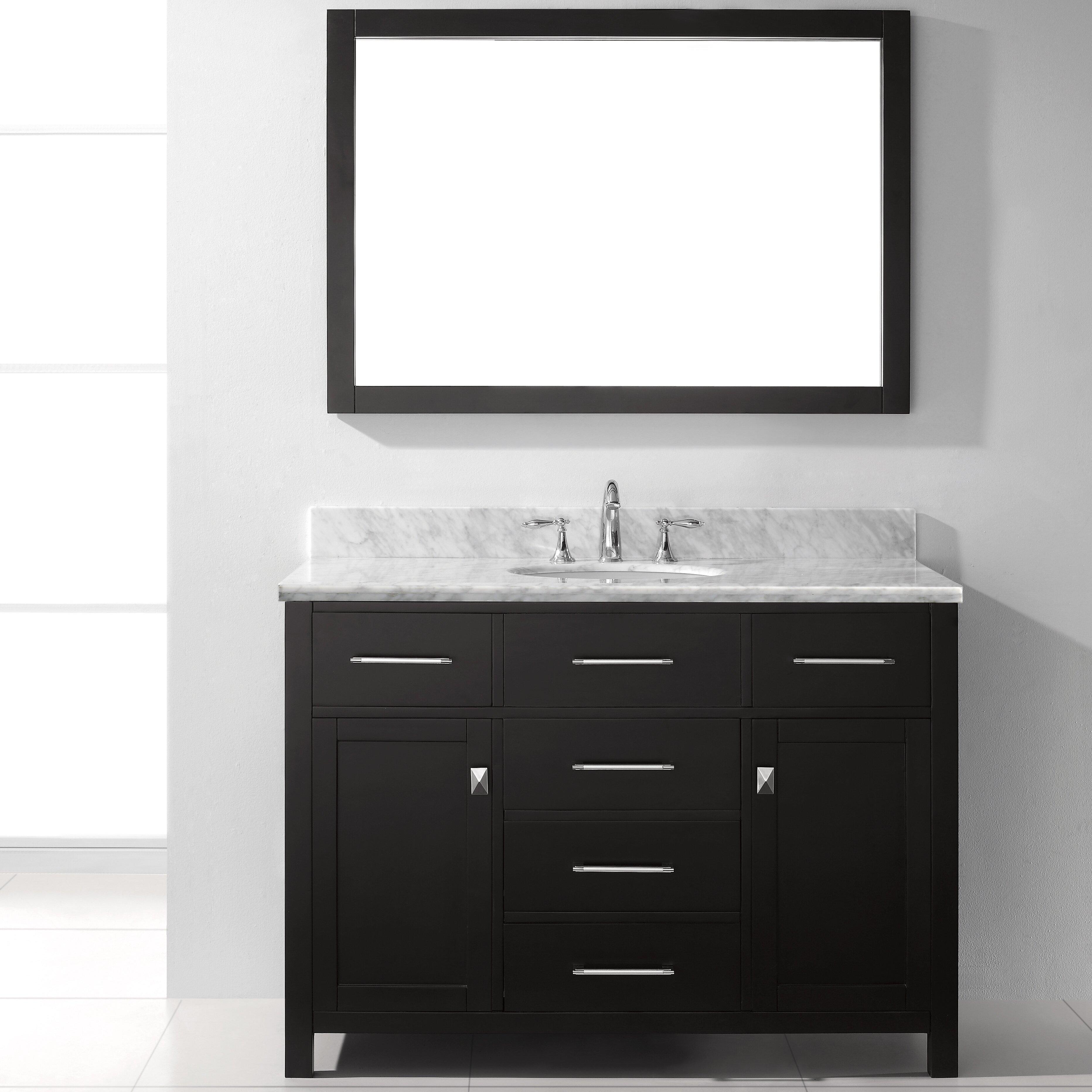 Virtu caroline 48 single bathroom vanity set with carrara for Vanity and mirror set