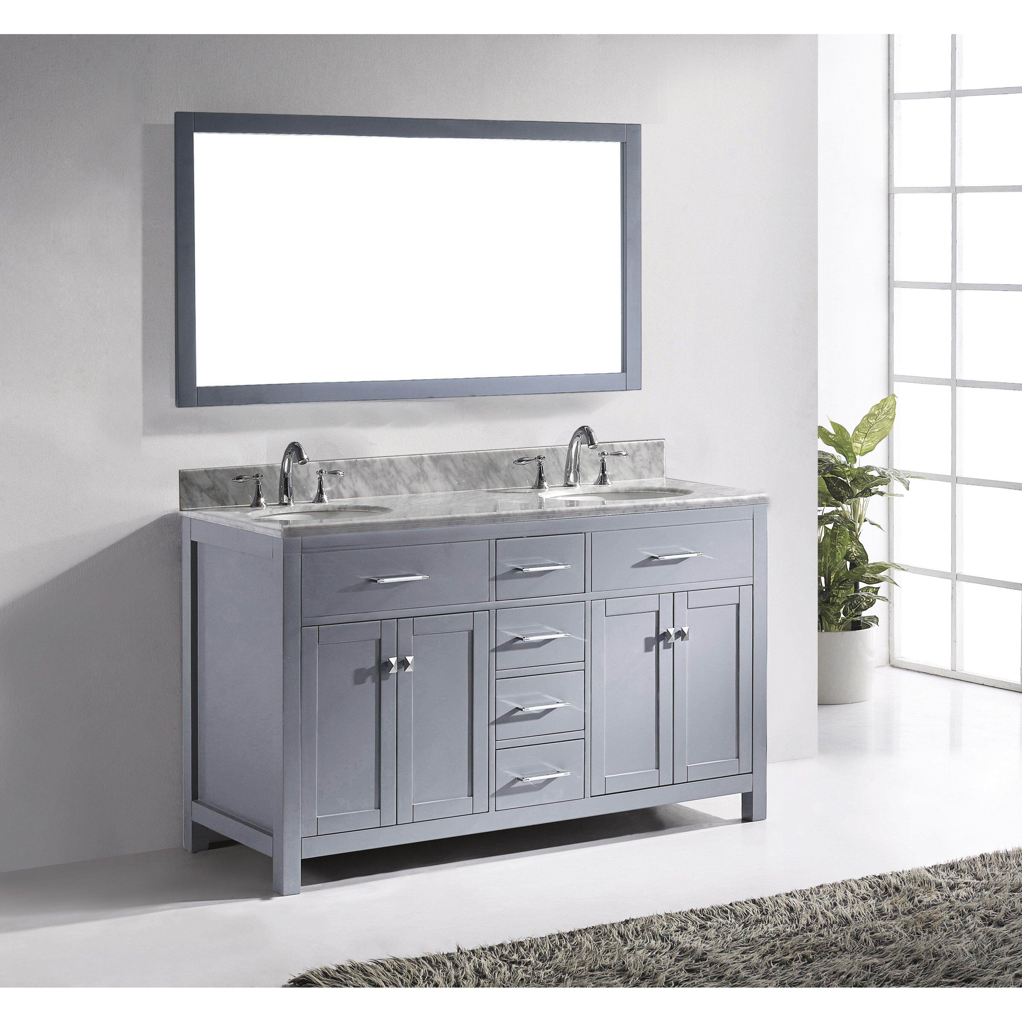 Virtu Caroline 60 Double Bathroom Vanity Set With Carrara