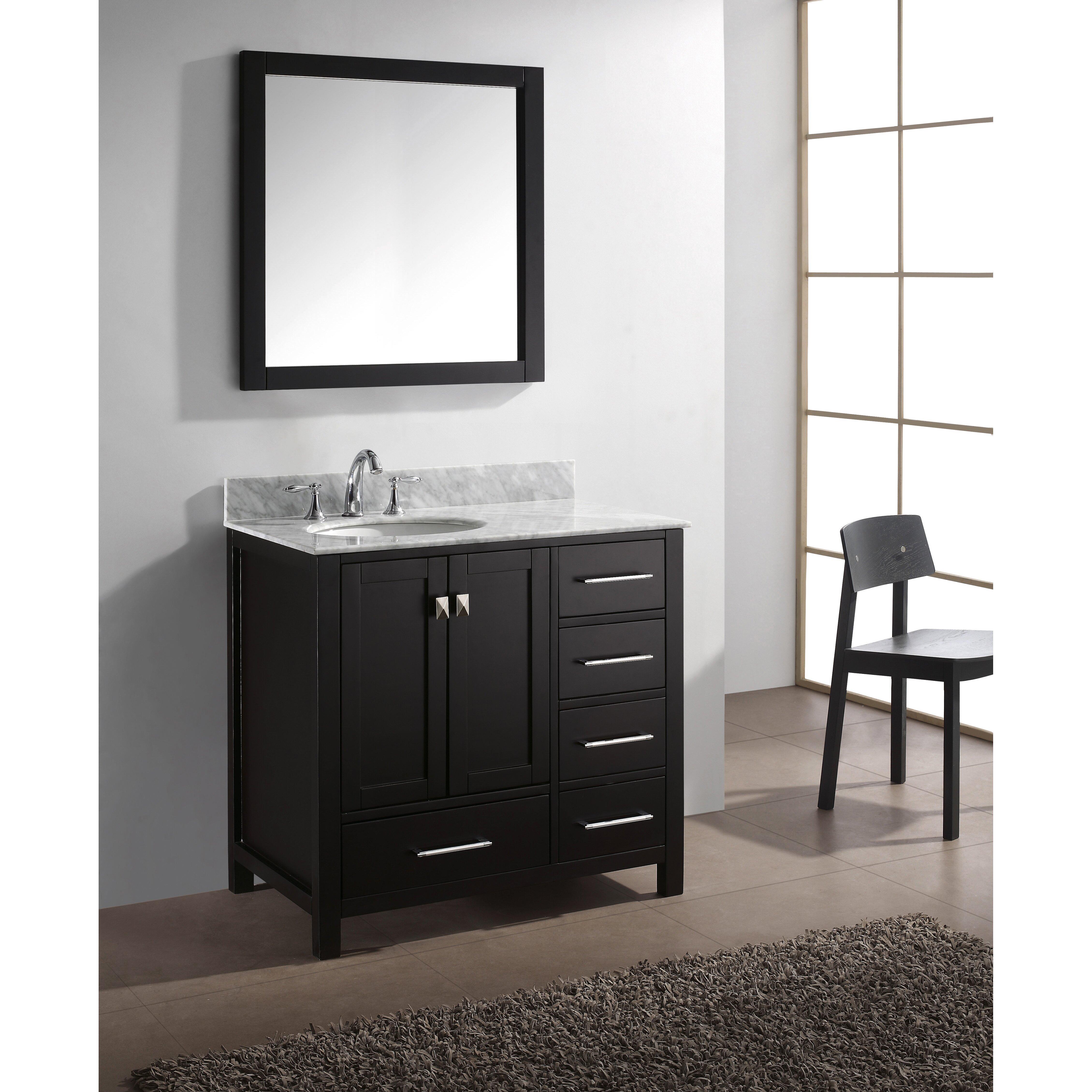 Virtu caroline avenue 37 single bathroom vanity set with for Bathroom mirror set
