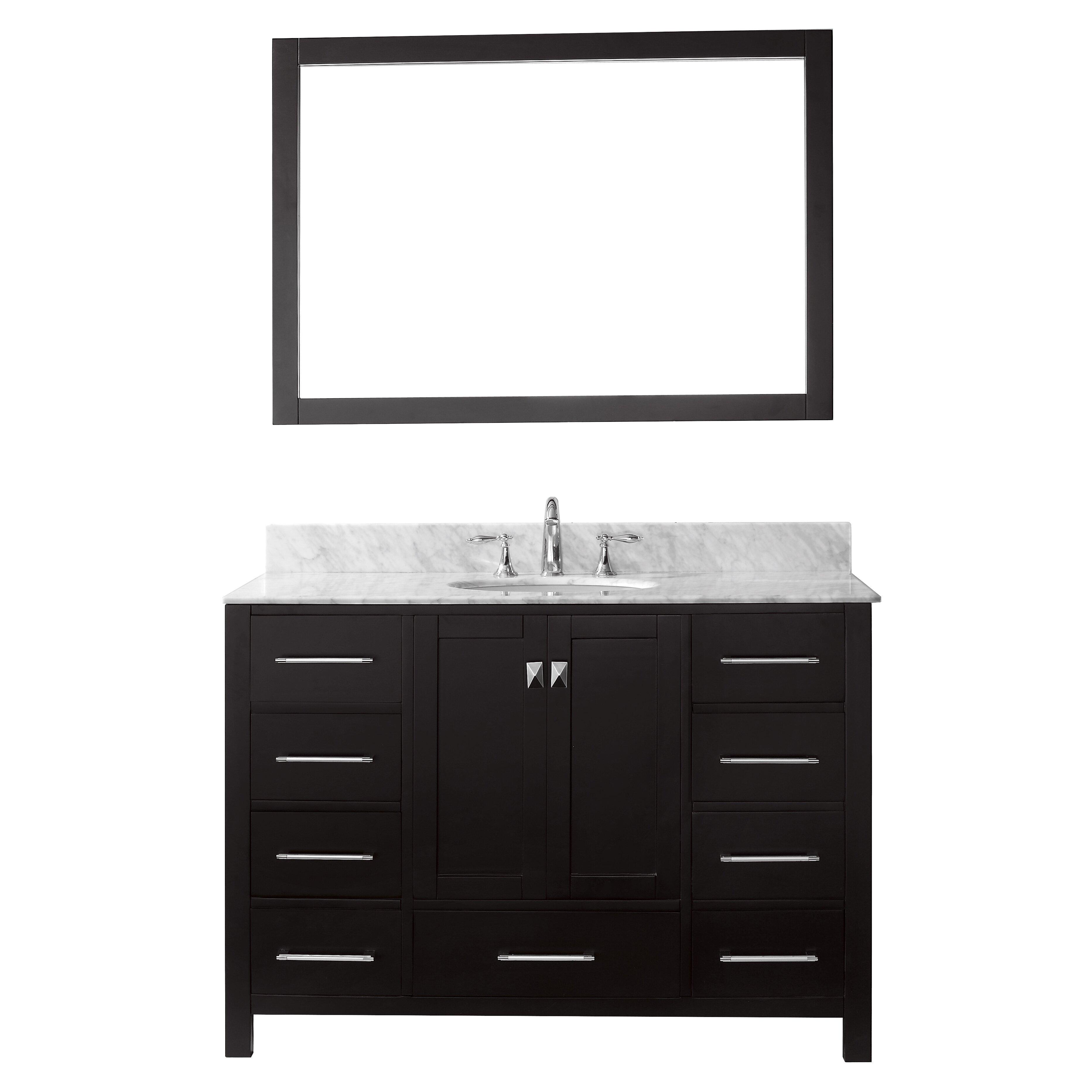 Virtu Caroline Avenue 48 Single Bathroom Vanity Set With Carrara White Top And Mirror Reviews