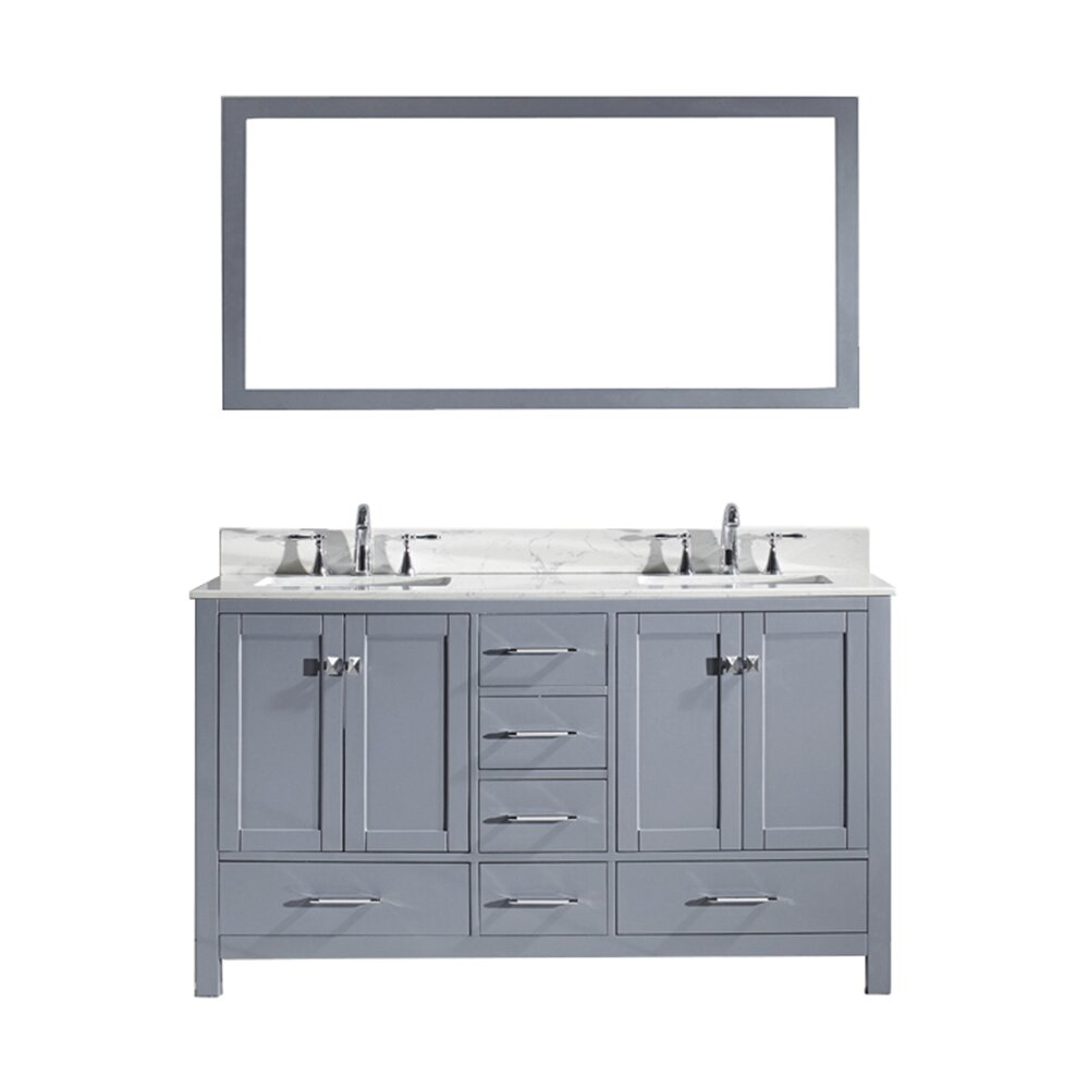 virtu caroline avenue 60 quot bathroom vanity set with carrara white top and mirror