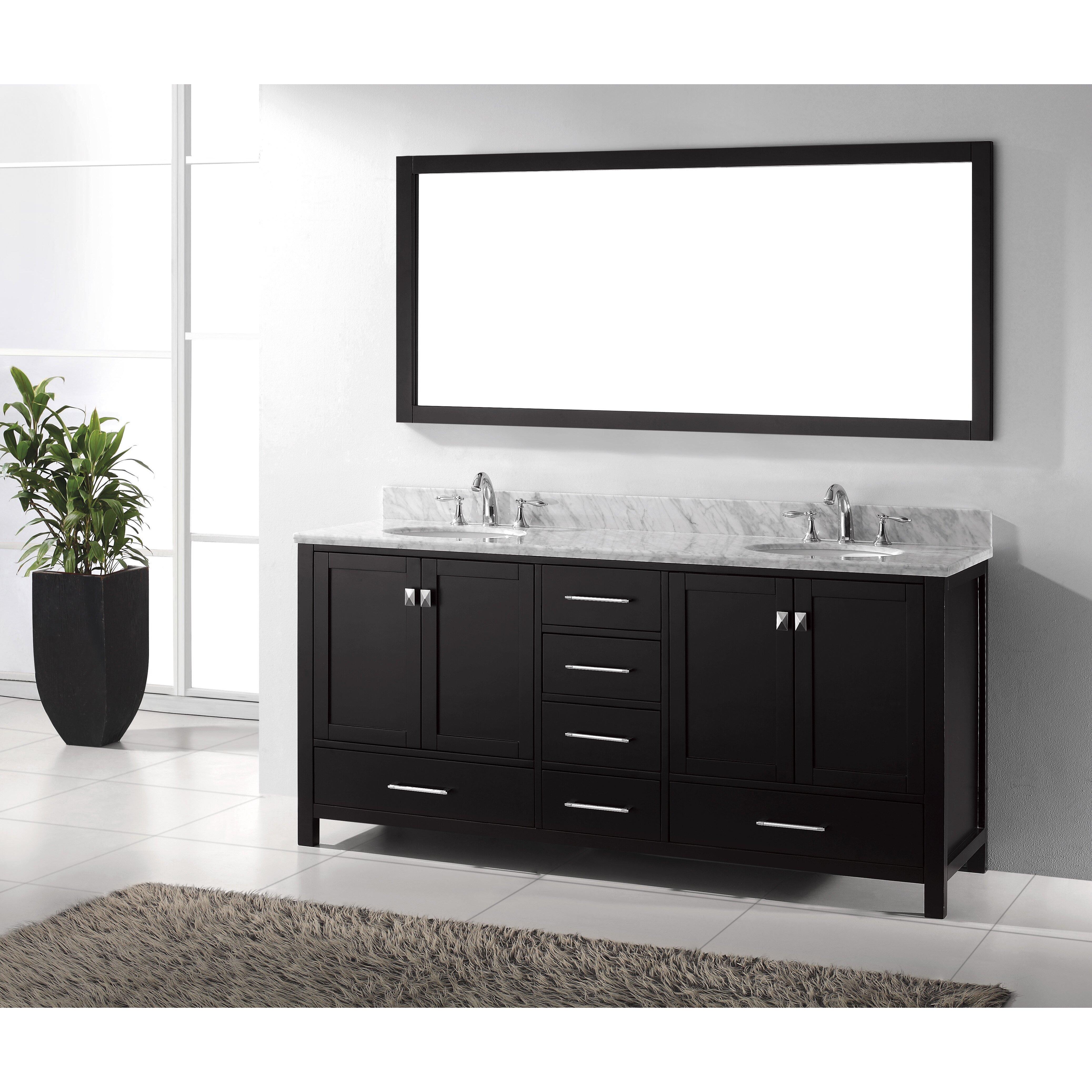 virtu caroline avenue 72 8 quot bathroom vanity set with carrara white top and mirror