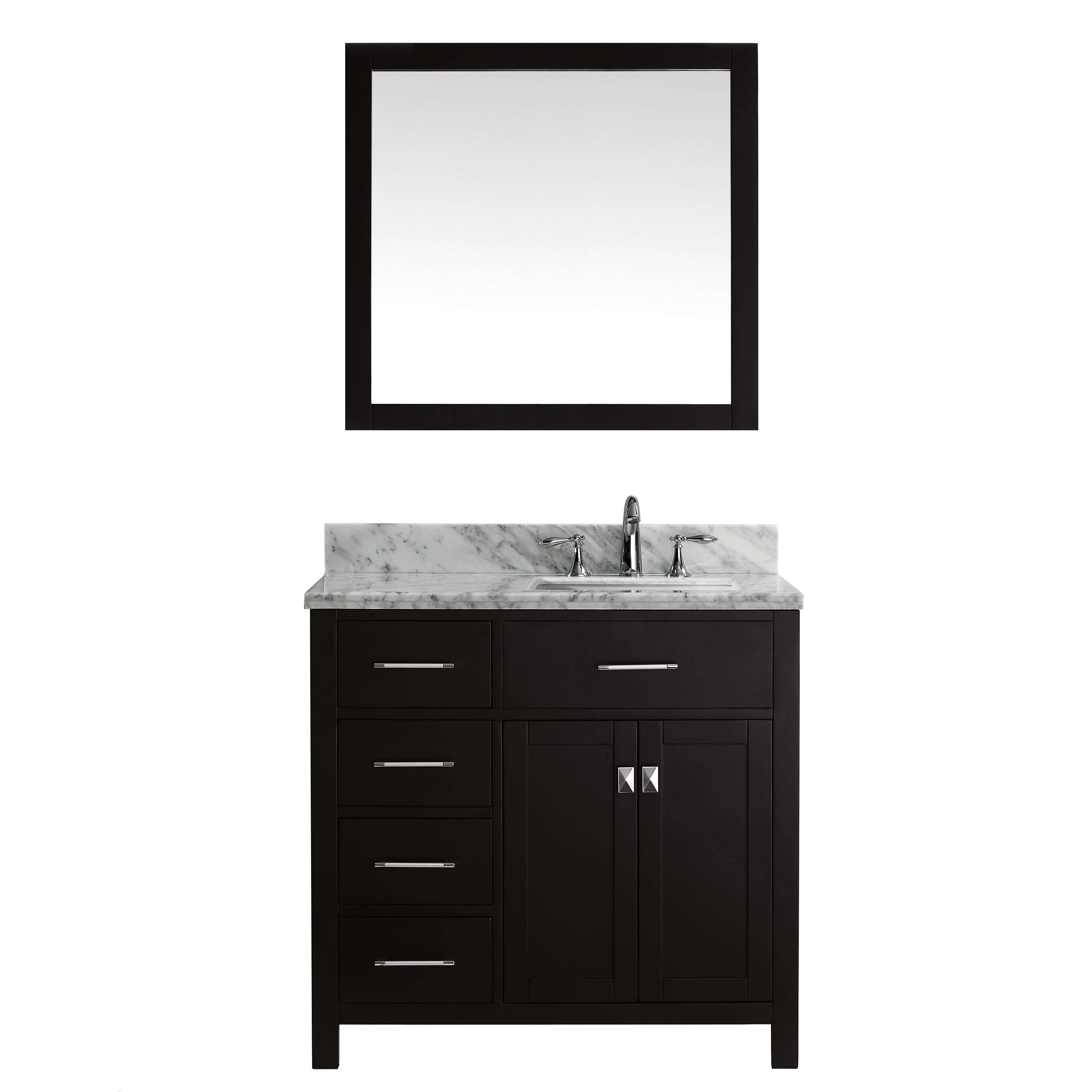 Virtu caroline parkway 35 single bathroom vanity set with for Vanity and mirror set