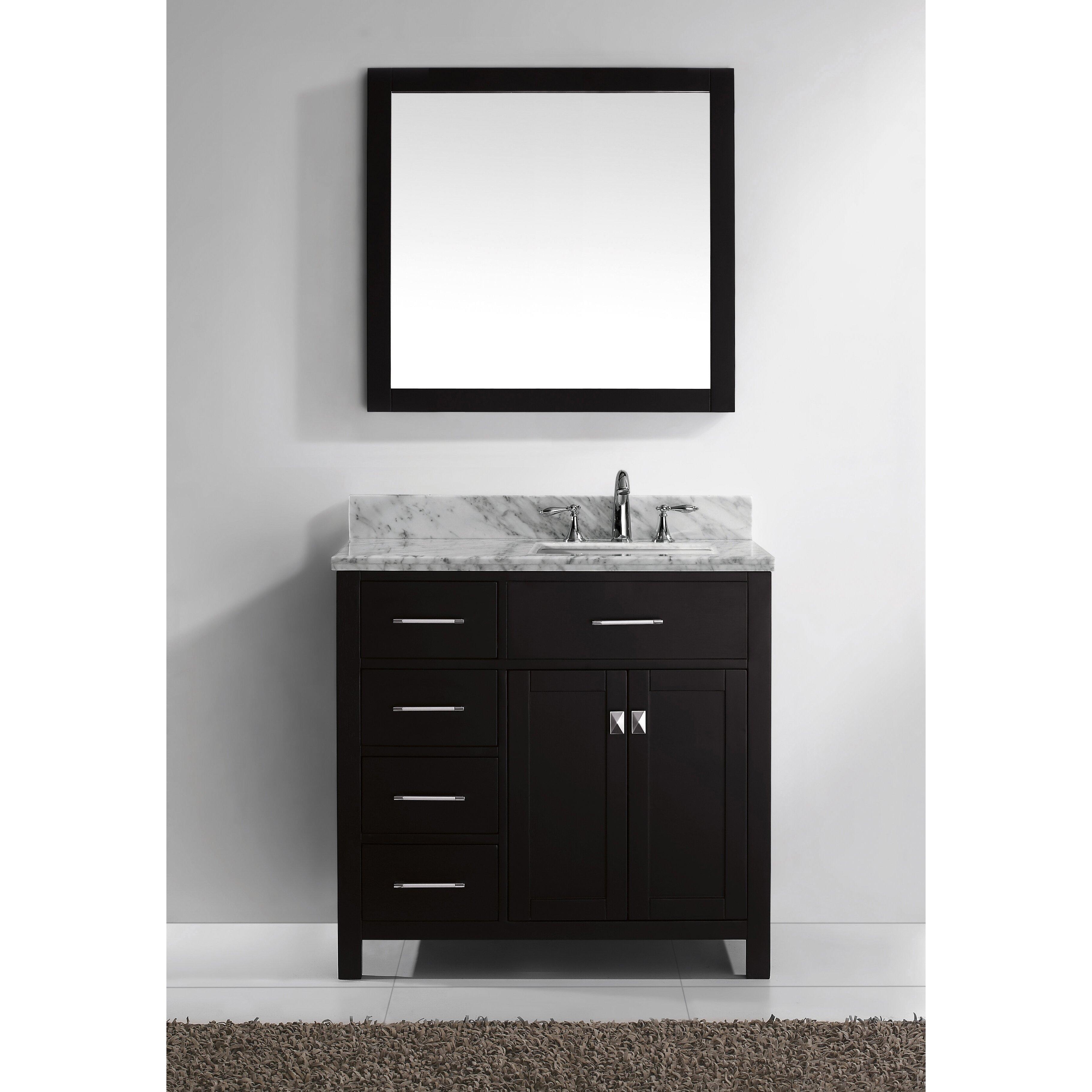 "Virtu Caroline Parkway 35"" Single Bathroom Vanity Set with Carrara White"
