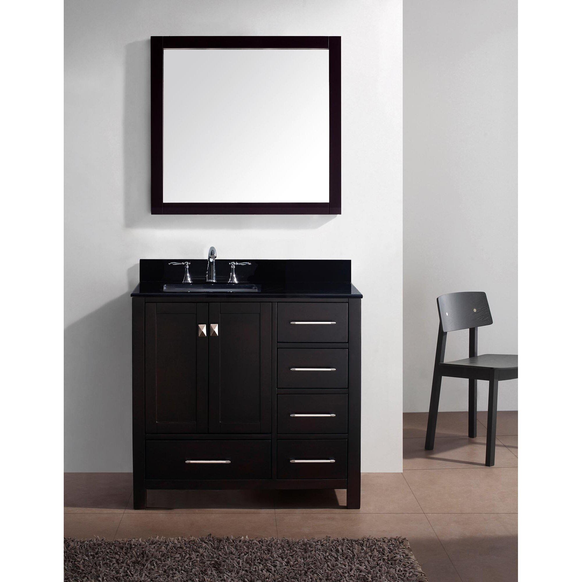 avenue 37 single bathroom vanity set with black galaxy top and mirror
