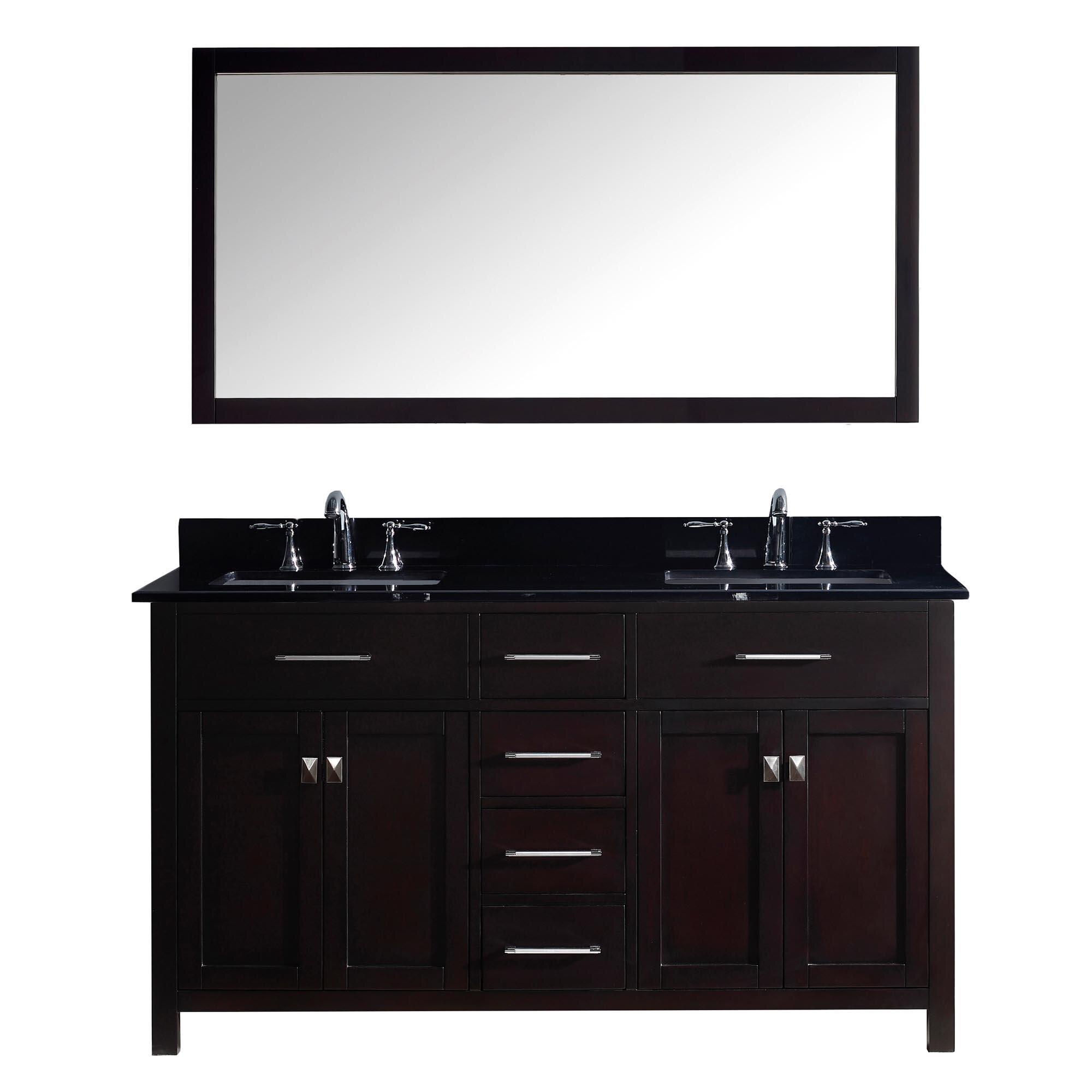 """Black Bathroom Vanity Set: Virtu Caroline 60"""" Double Bathroom Vanity Set With Black"""