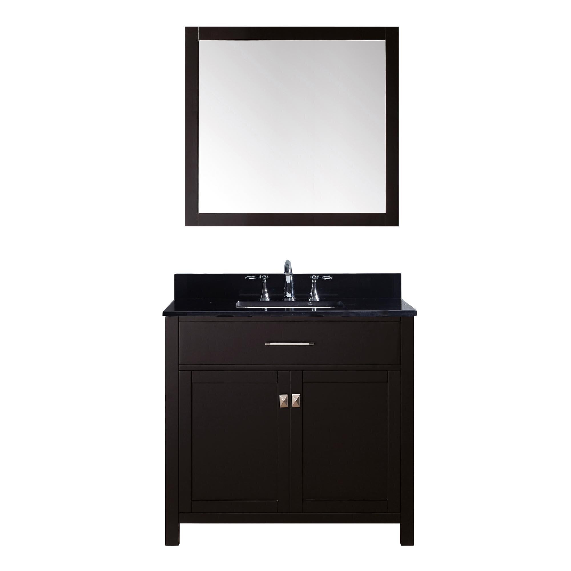 """Black Bathroom Vanity Set: Virtu Caroline 35.8"""" Single Bathroom Vanity Set With Black"""