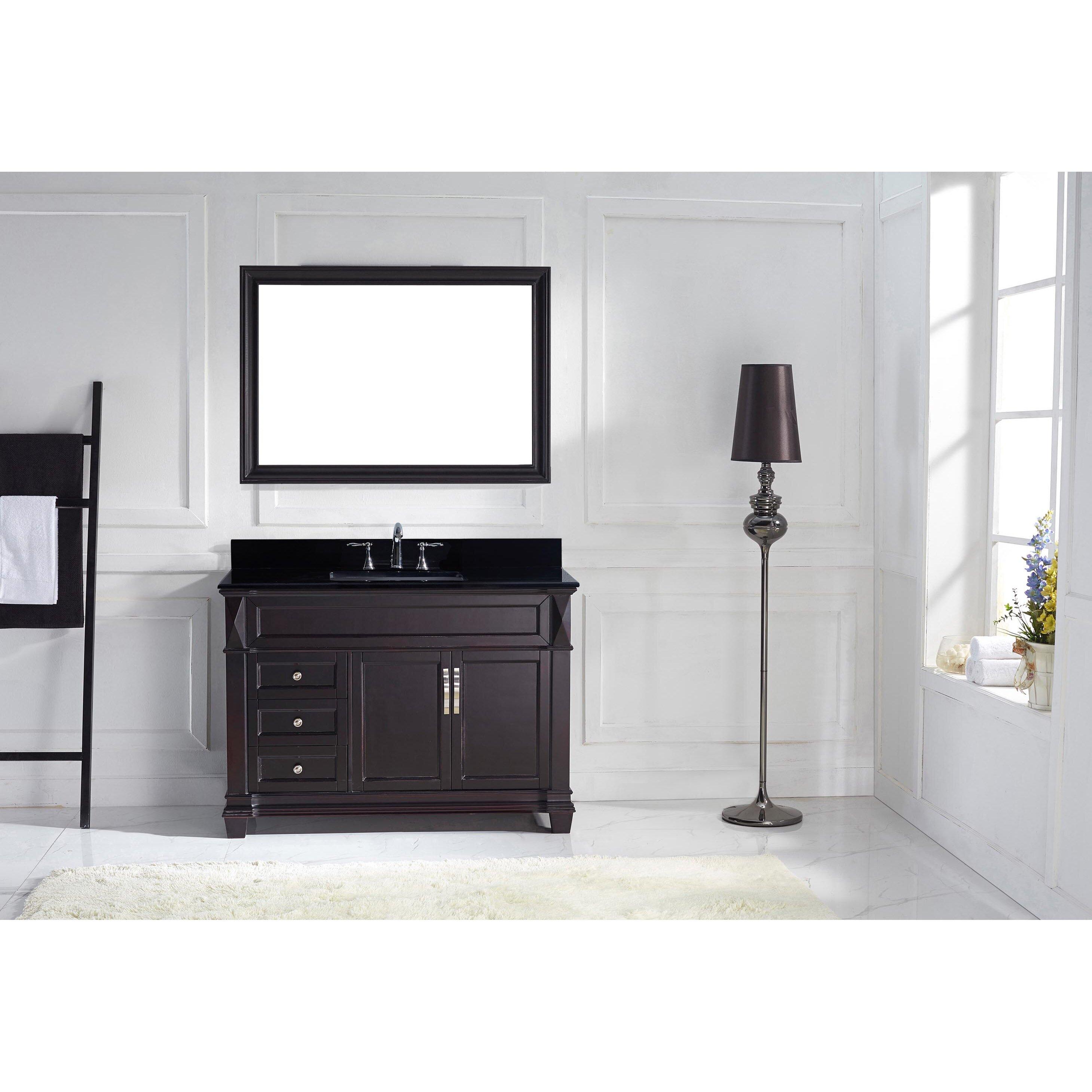 """Black Bathroom Vanity Set: Virtu Victoria 48.8"""" Single Bathroom Vanity Set With Black"""
