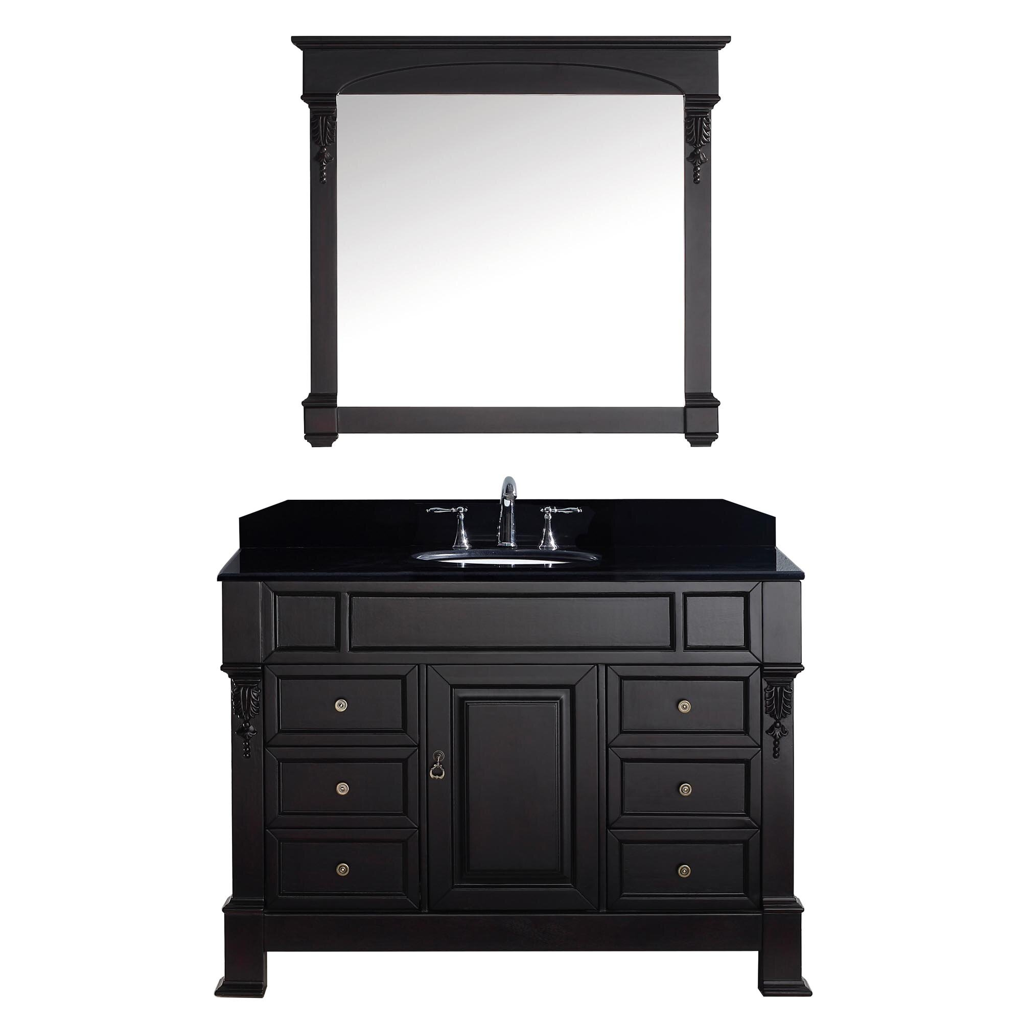 virtu victoria 47 3 single bathroom vanity set with black galaxy top and mirror wayfair