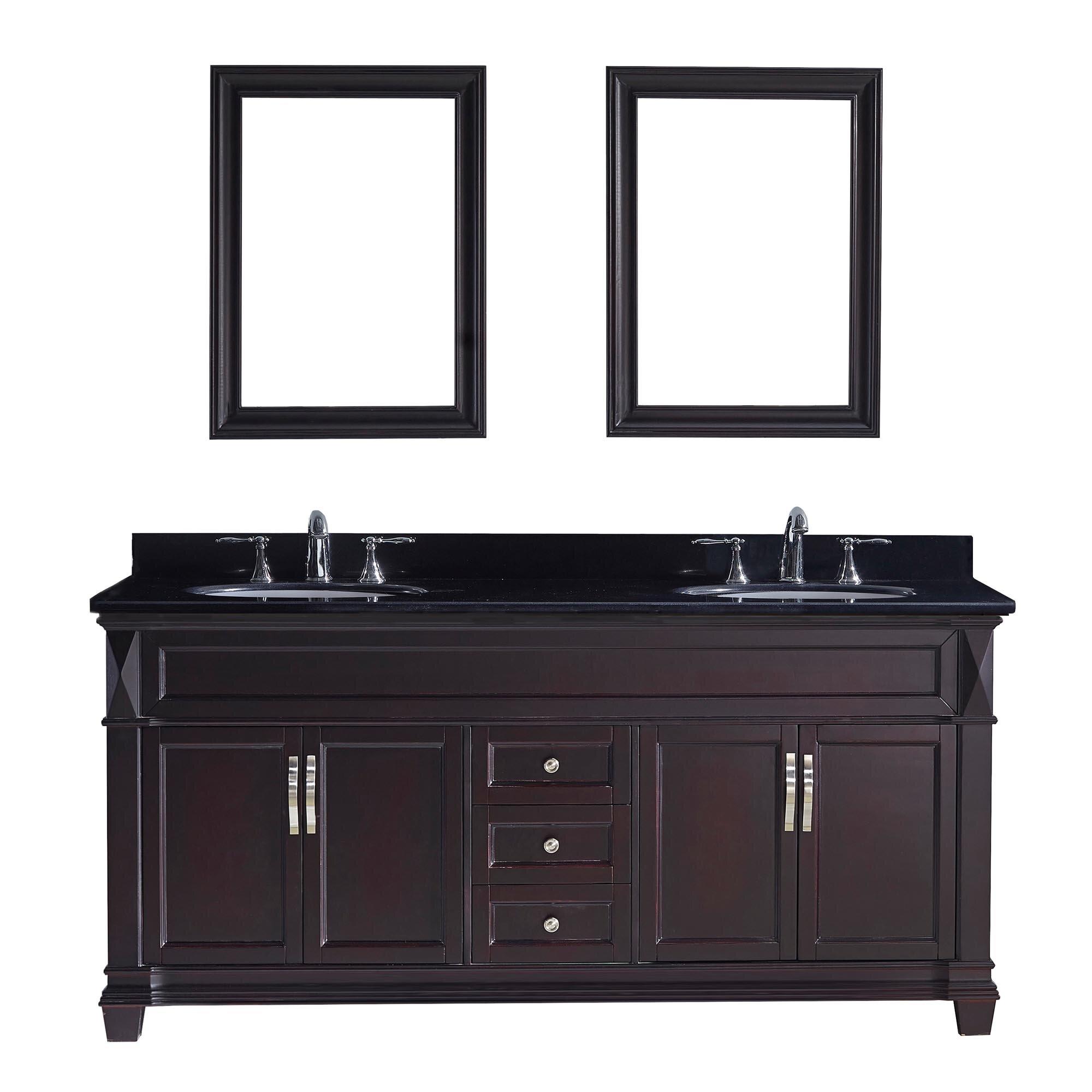 "Virtu Victoria 72"" Double Bathroom Vanity Set With Black"