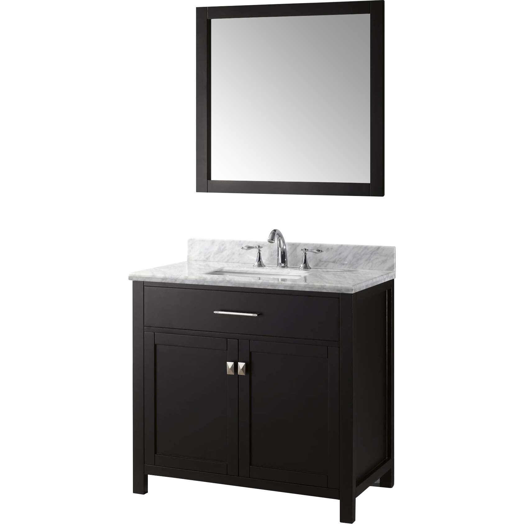 Virtu Caroline 36 Single Bathroom Vanity Set With Carrara