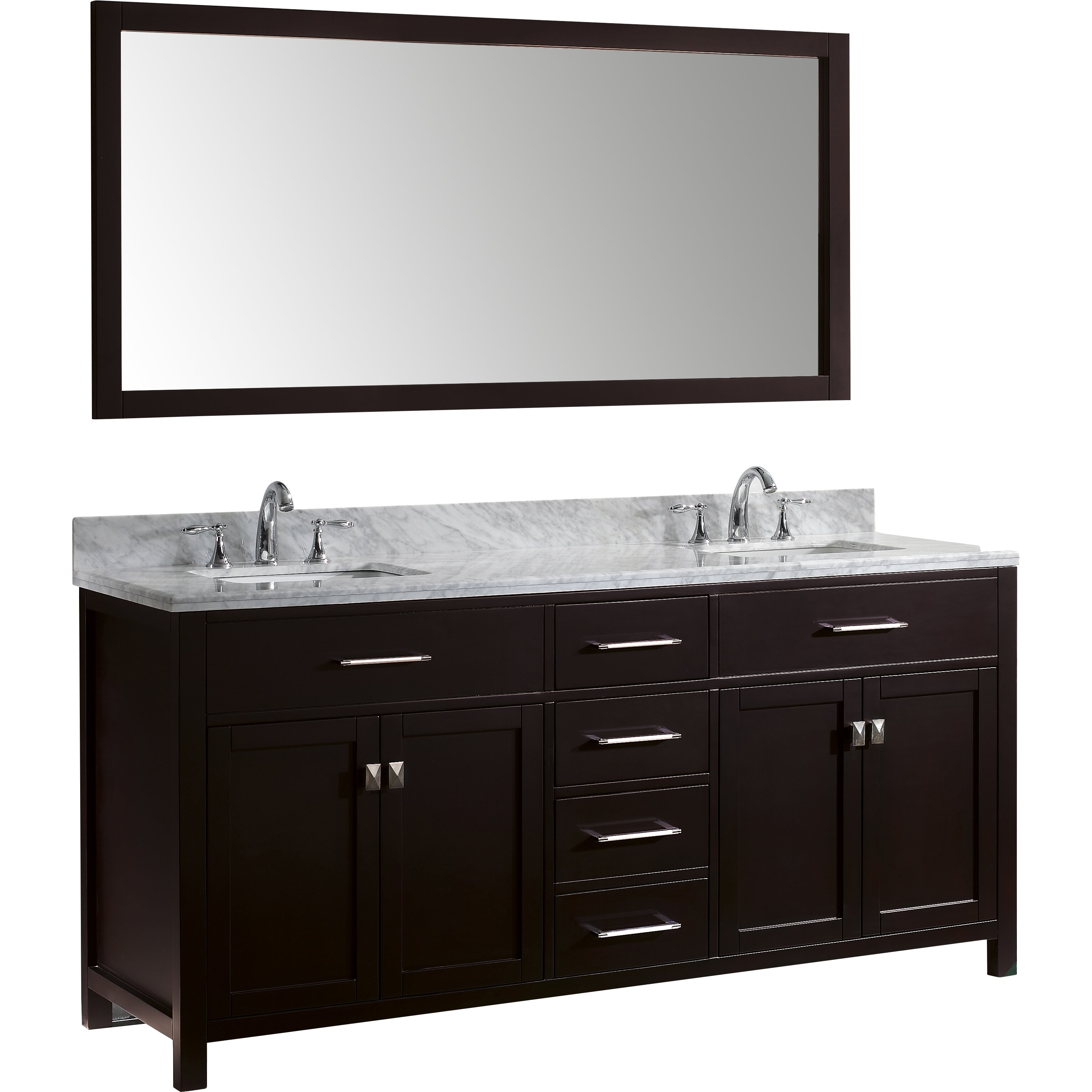 Virtu Caroline 72 Double Bathroom Vanity Set With Carrara White Top And Mirror Reviews Wayfair