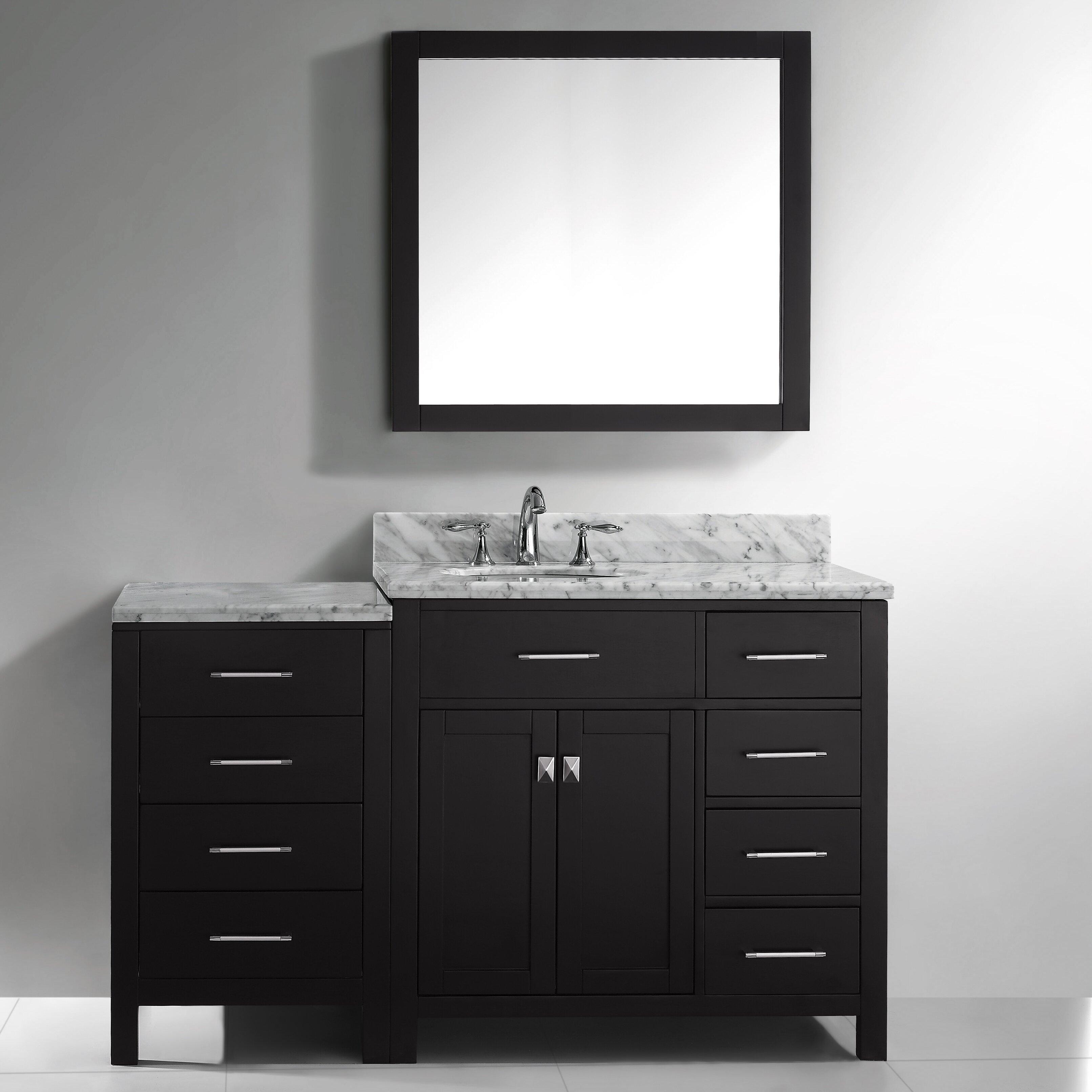 Virtu Caroline Parkway 57 Single Bathroom Vanity Set With Carrara White Top And Mirror