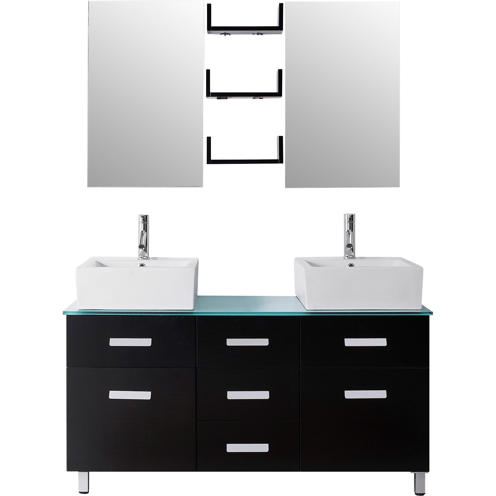 Virtu ultra modern series 56 double bathroom vanity set with mirror wayfair - Kona modern bathroom vanity set ...